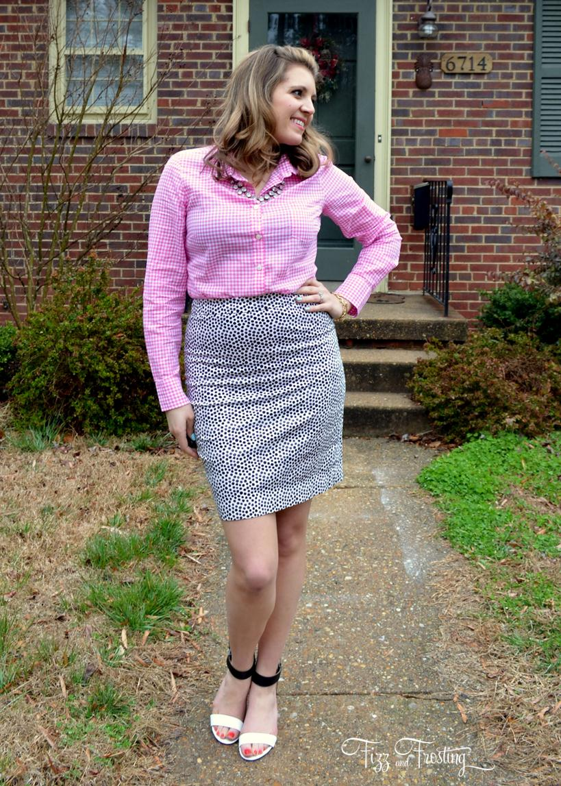 Pink plaid and polka dots by lauren m