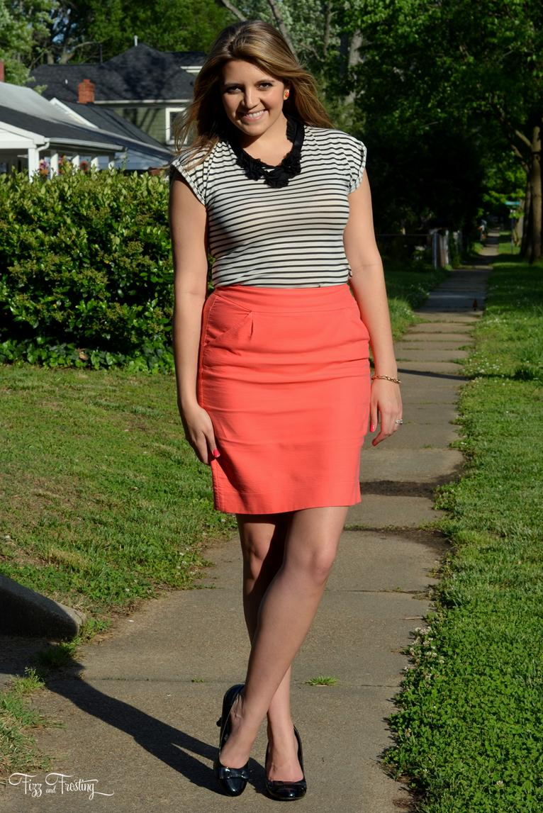 Coral Pink Pencil Skirt By Lauren M