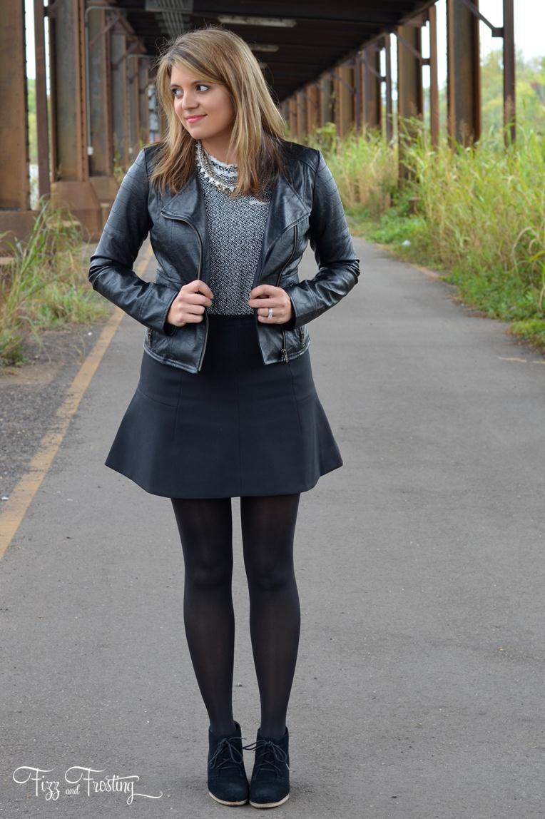 Purple Light Mini Skirt Black Top Turtleneck Wear