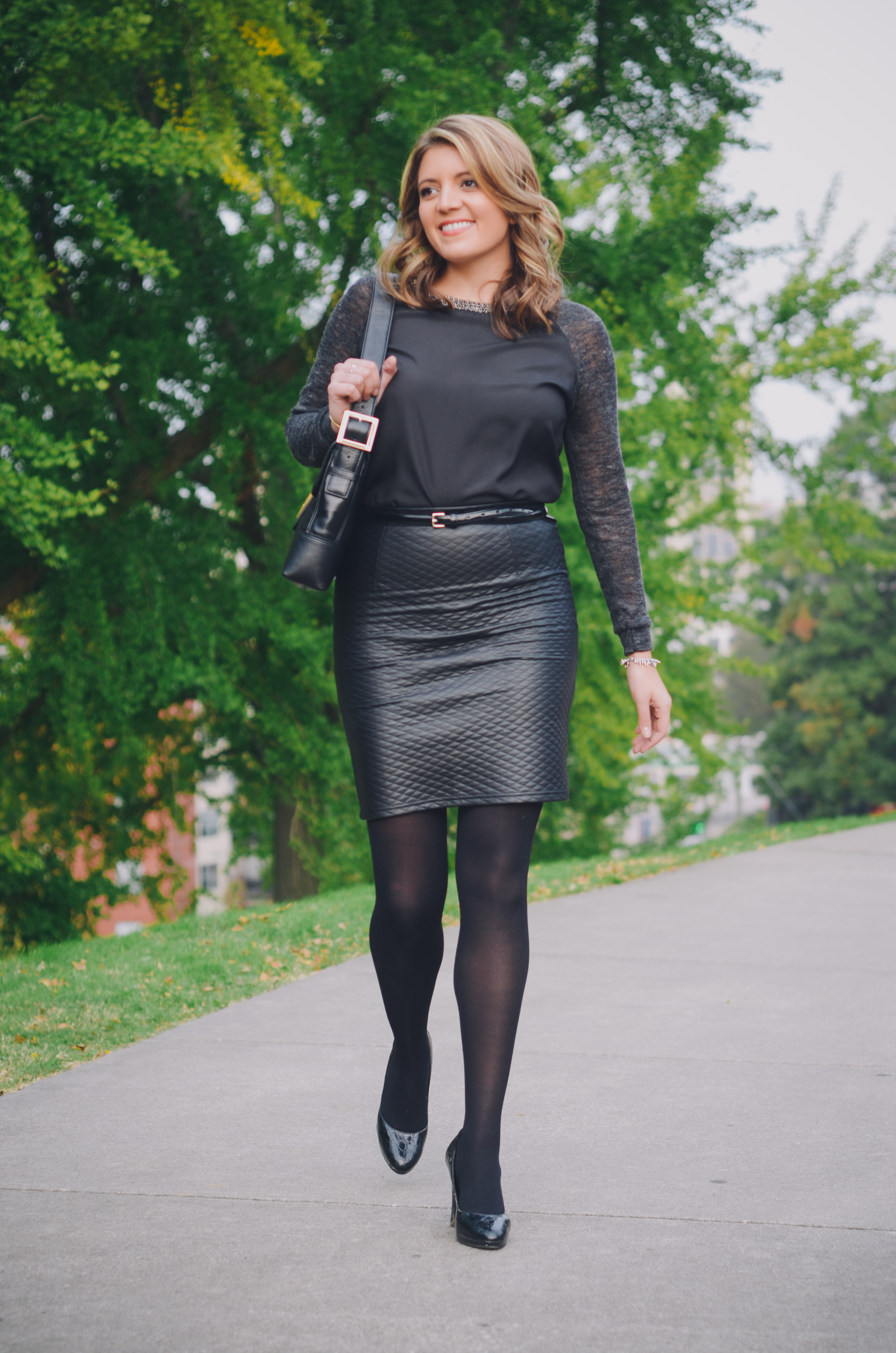 how to wear a leather pencil skirt |lauren m