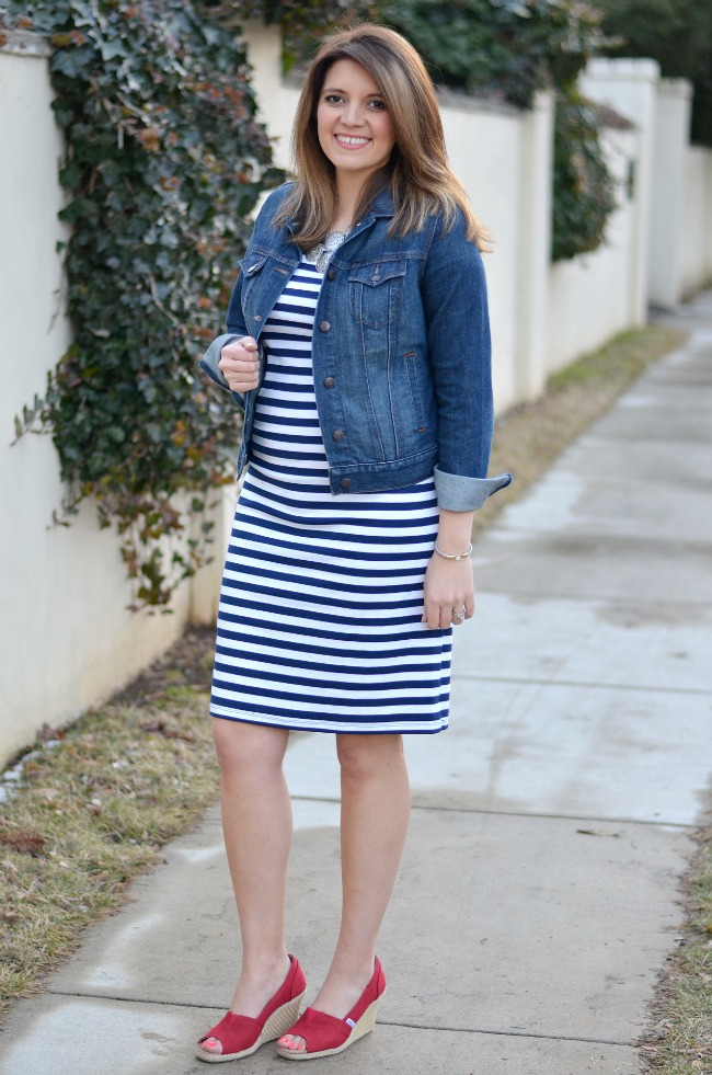 2e0bb06bec99e spring maternity outfit - blue striped dress | By Lauren M