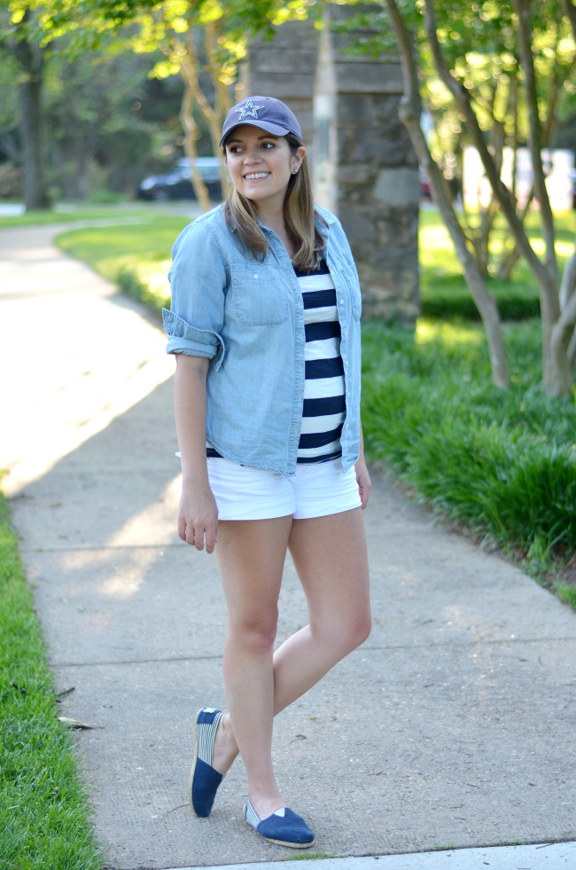 casual pregnancy outfits - navy striped maternity tee, chambray top and white shorts outfit!