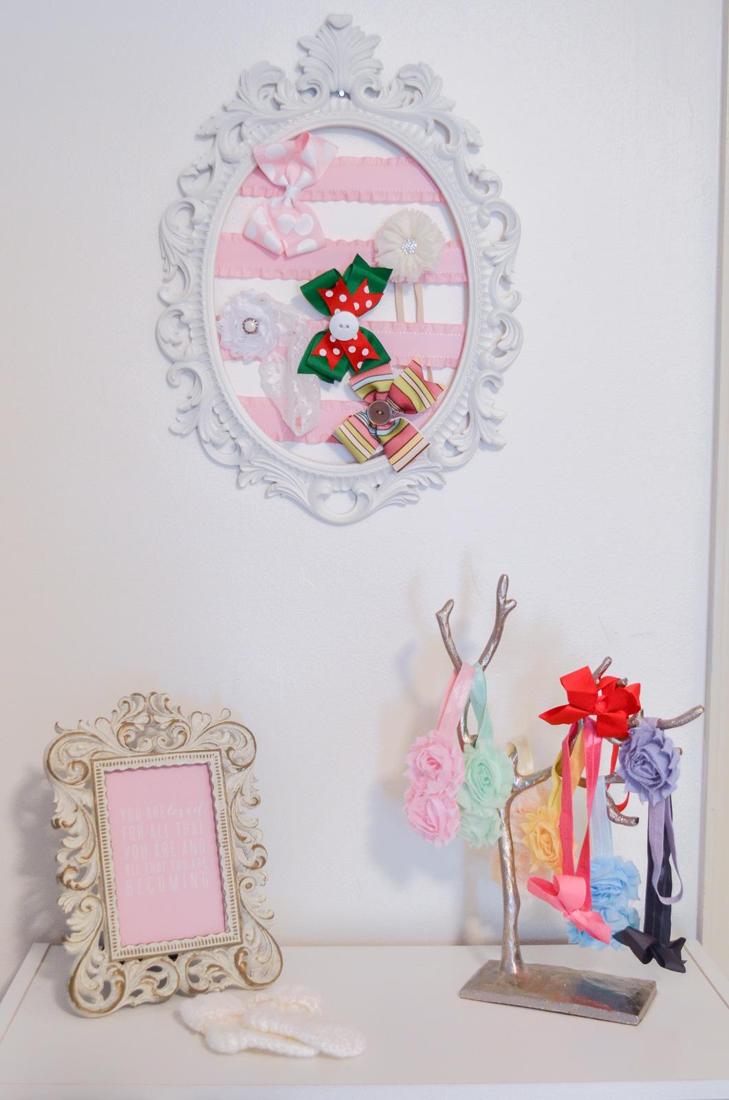 grey, pink nursery - diy bow organizer | bylaurenm.com