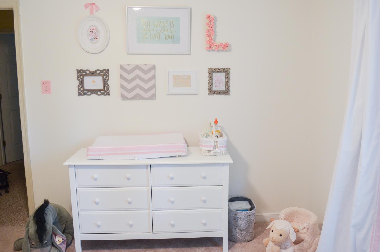 pink, grey, and white nursery - diy gallery wall nursery | bylaurenm.com