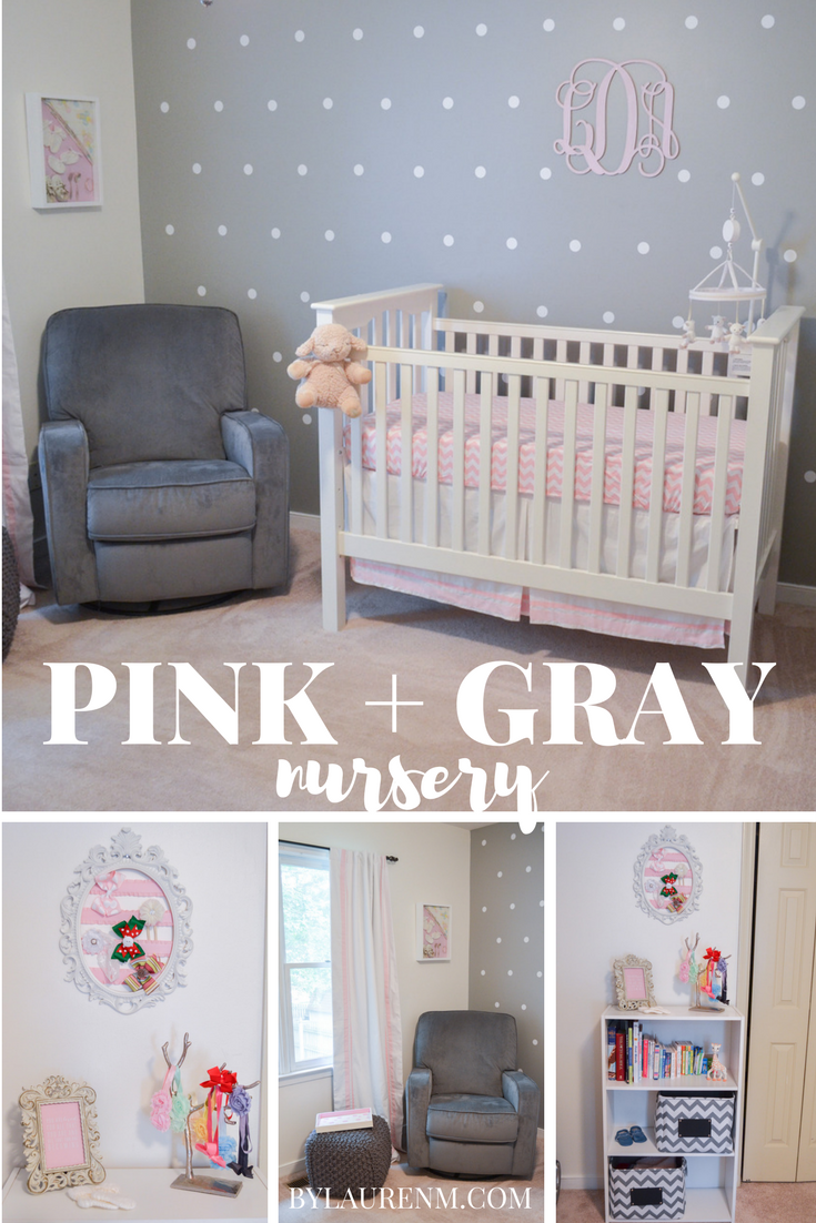 pink grey and white nursery pink gray nursery by lauren m. Black Bedroom Furniture Sets. Home Design Ideas
