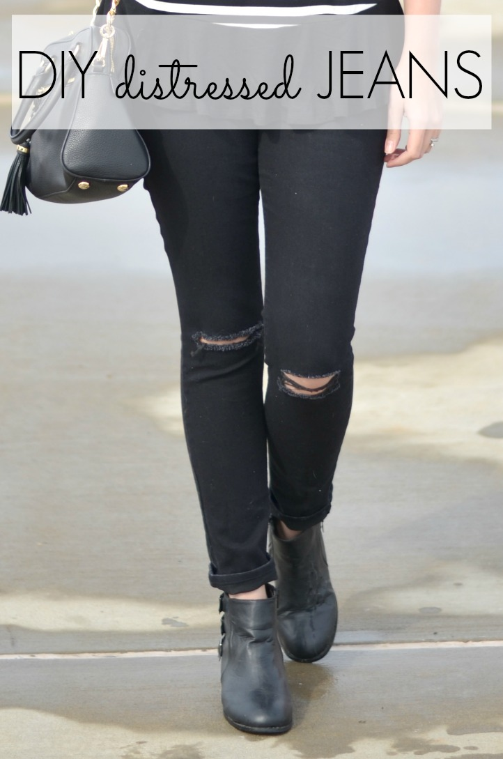 Easy DIY Distressed Black Jeans | By Lauren M