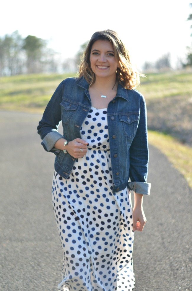 36cbbac699 old navy polka dot dress with jean jacket