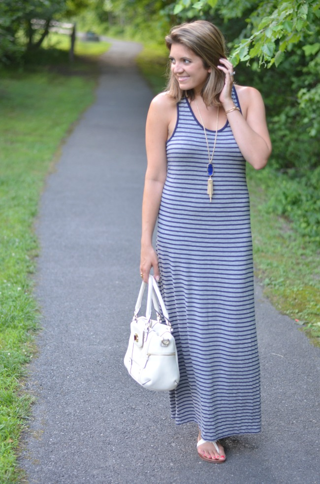 ways to wear a striped maxi dress