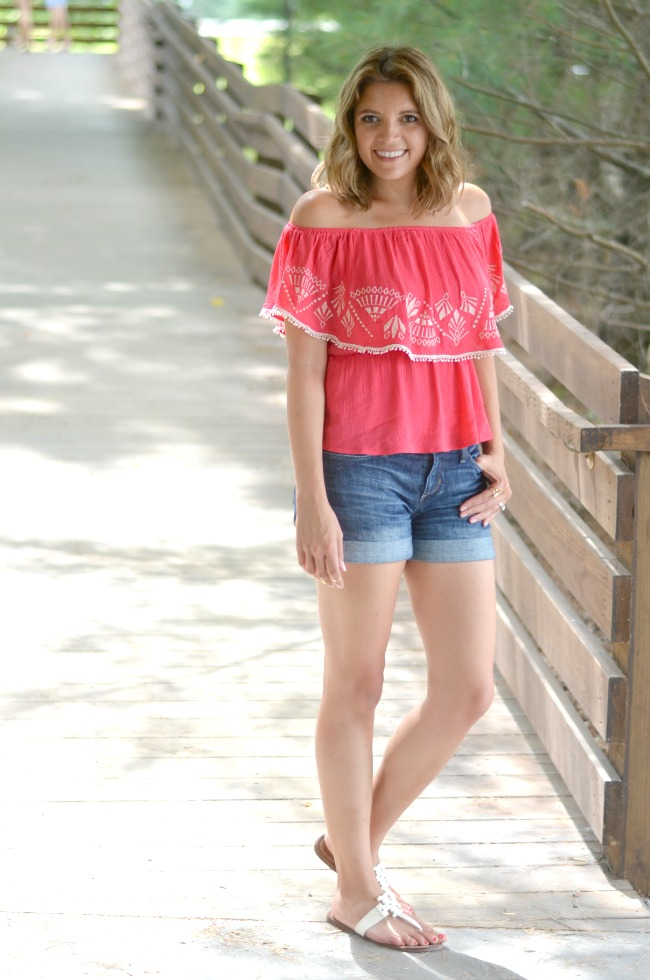 embroidered off the shoulder top with denim shorts | see more from @fizzandfrosting