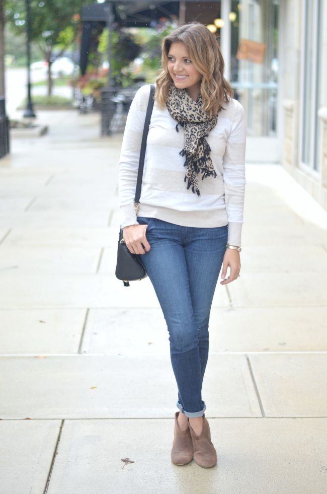wide stripe sweater with leopard print scarf via @fizzandfrosting