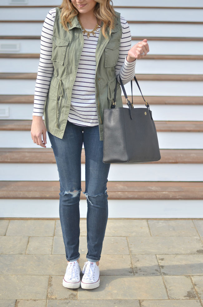 spring transition - striped tee, cargo vest, distressed skinny jeans | www.fizzandfrosting.com