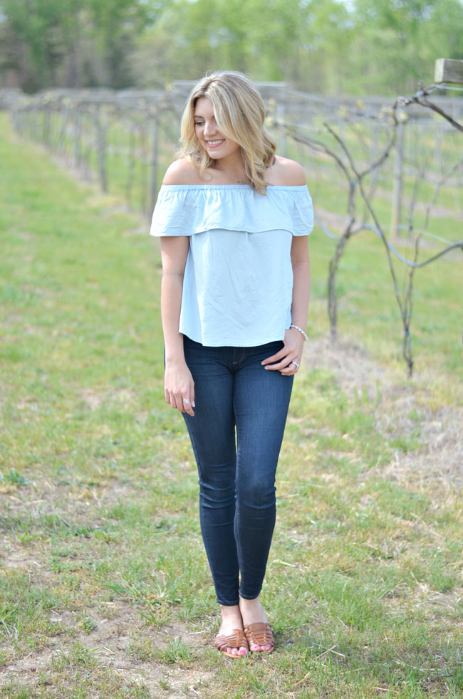 551845477b283 Chambray Off the Shoulder