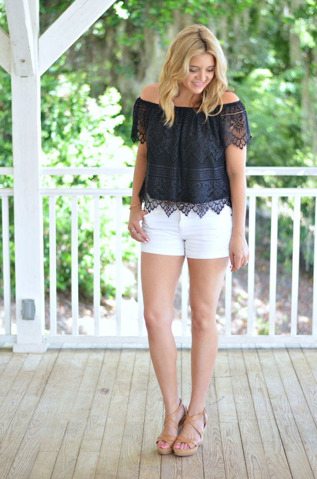 06791aaa50f42e black lace off the shoulder top with white shorts