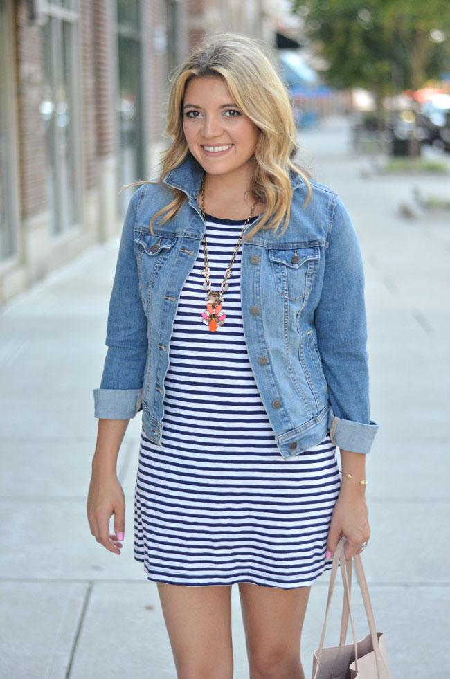 e3771caa01a0 summer style - striped tshirt dress with denim jacket