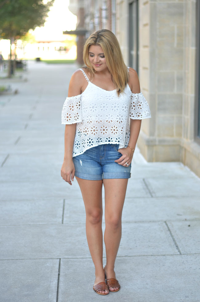 97eec0d47fe02f white lace off shoulder top with distressed denim shorts