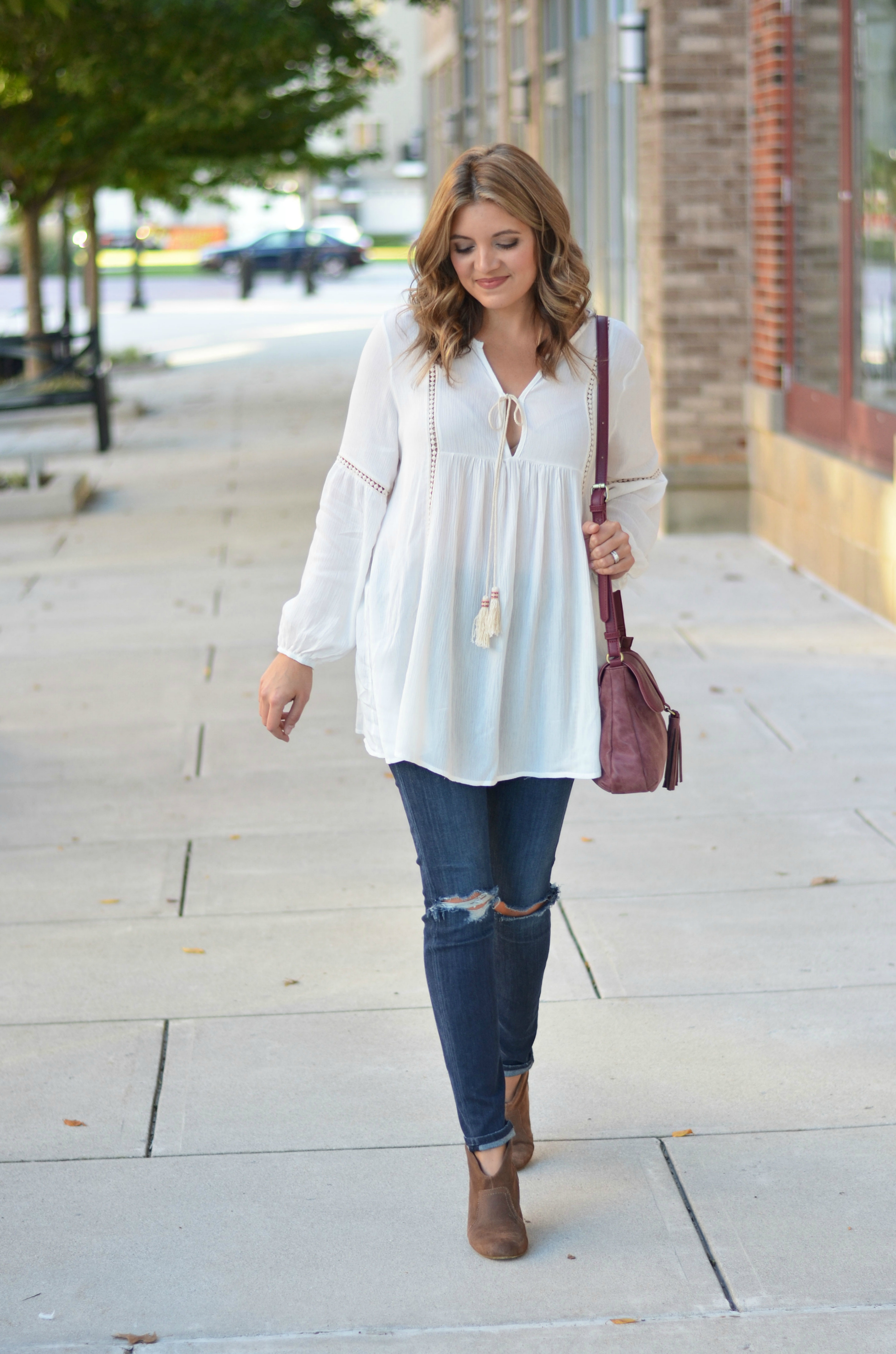 peasant top outfit - white peasant top with distressed skinny jeans and tan booties | www.bylaurenm.com