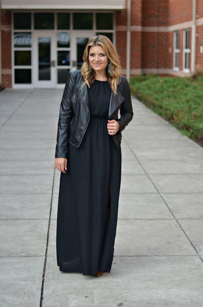 Maxi Dress With a Leather Jacket | By Lauren M