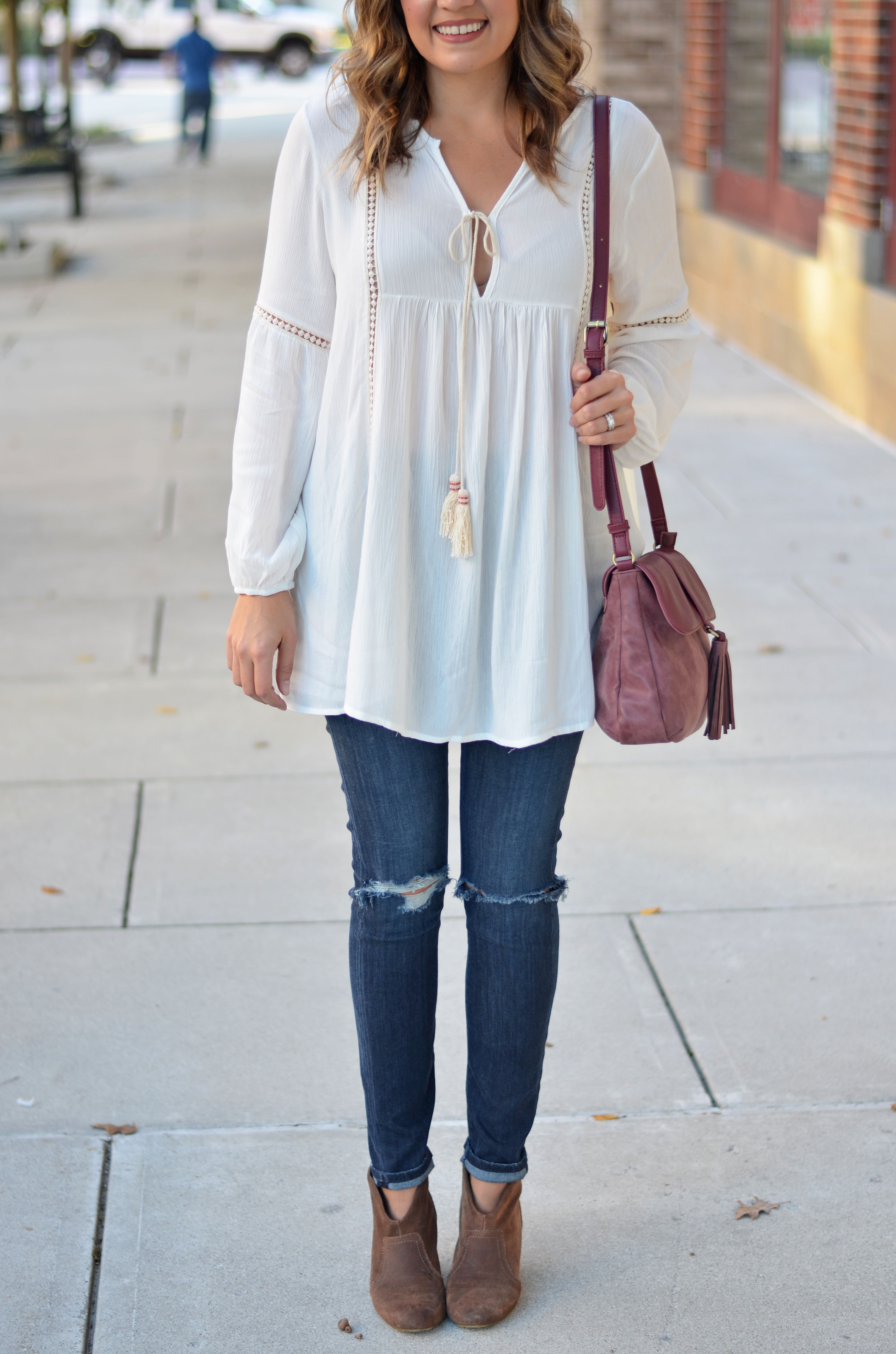 how to wear a peasant top - white peasant top with distressed skinny jeans and tan booties | www.bylaurenm.com