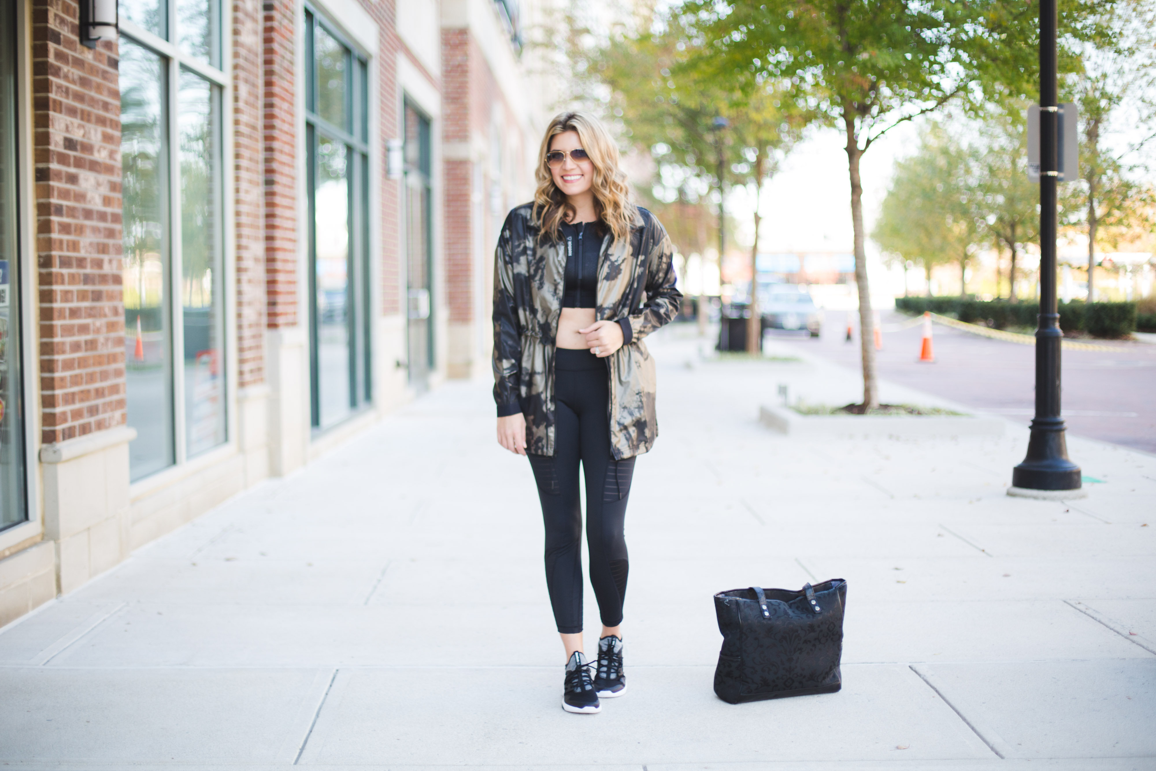 fashionable workout clothes - metallic drawstring jacket and mesh leggings | www.bylaurenm.com