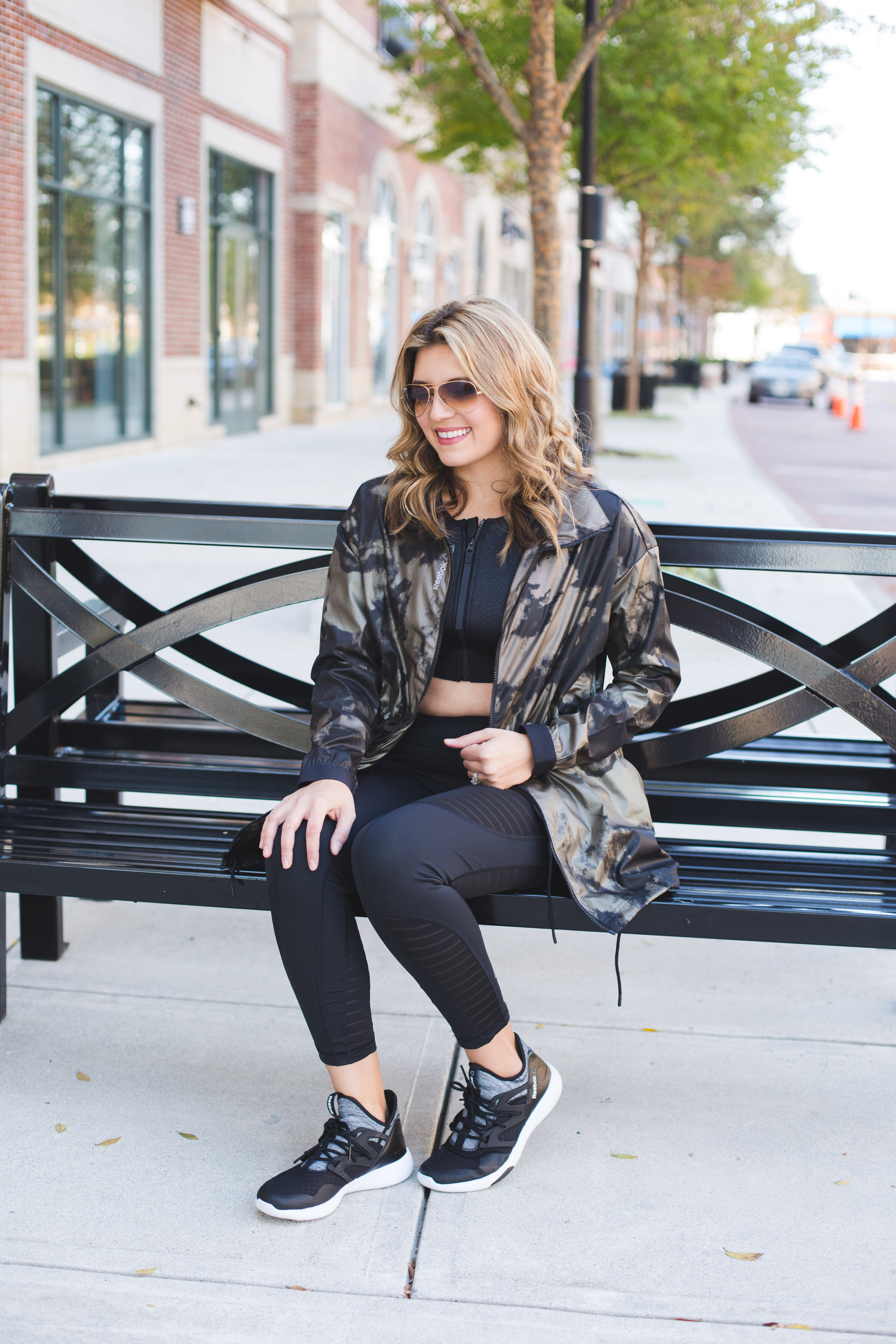 cute workout clothes - reebook parka jacket and mesh leggings | www.bylaurenm.com