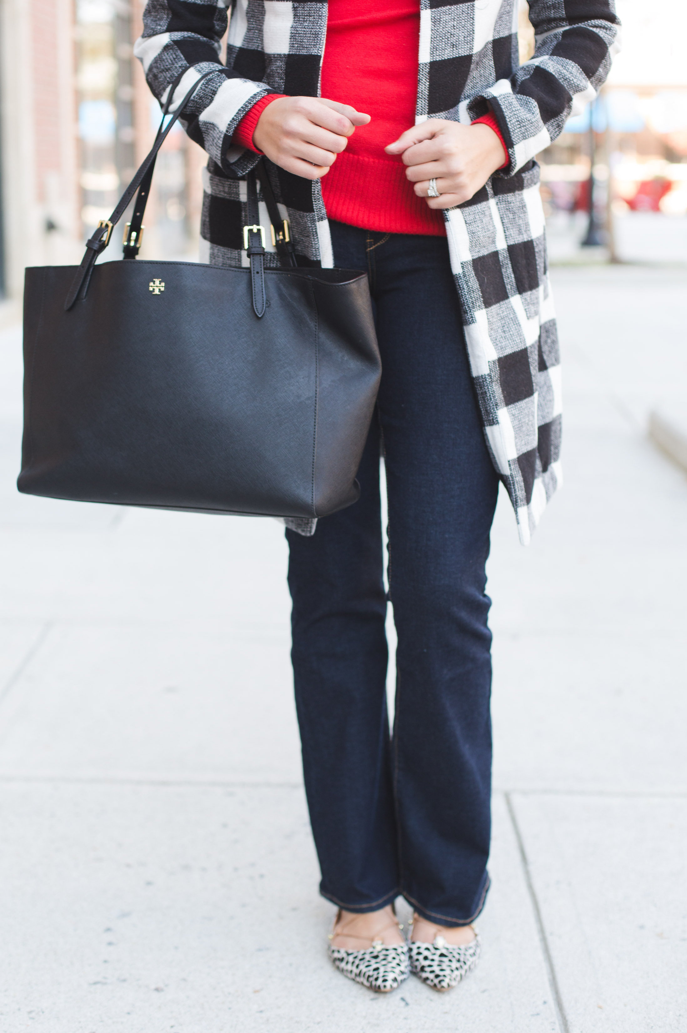 bootcut jeans outfit - bootcut jeans with buffalo plaid coat and red turtleneck | www.bylaurenm.com