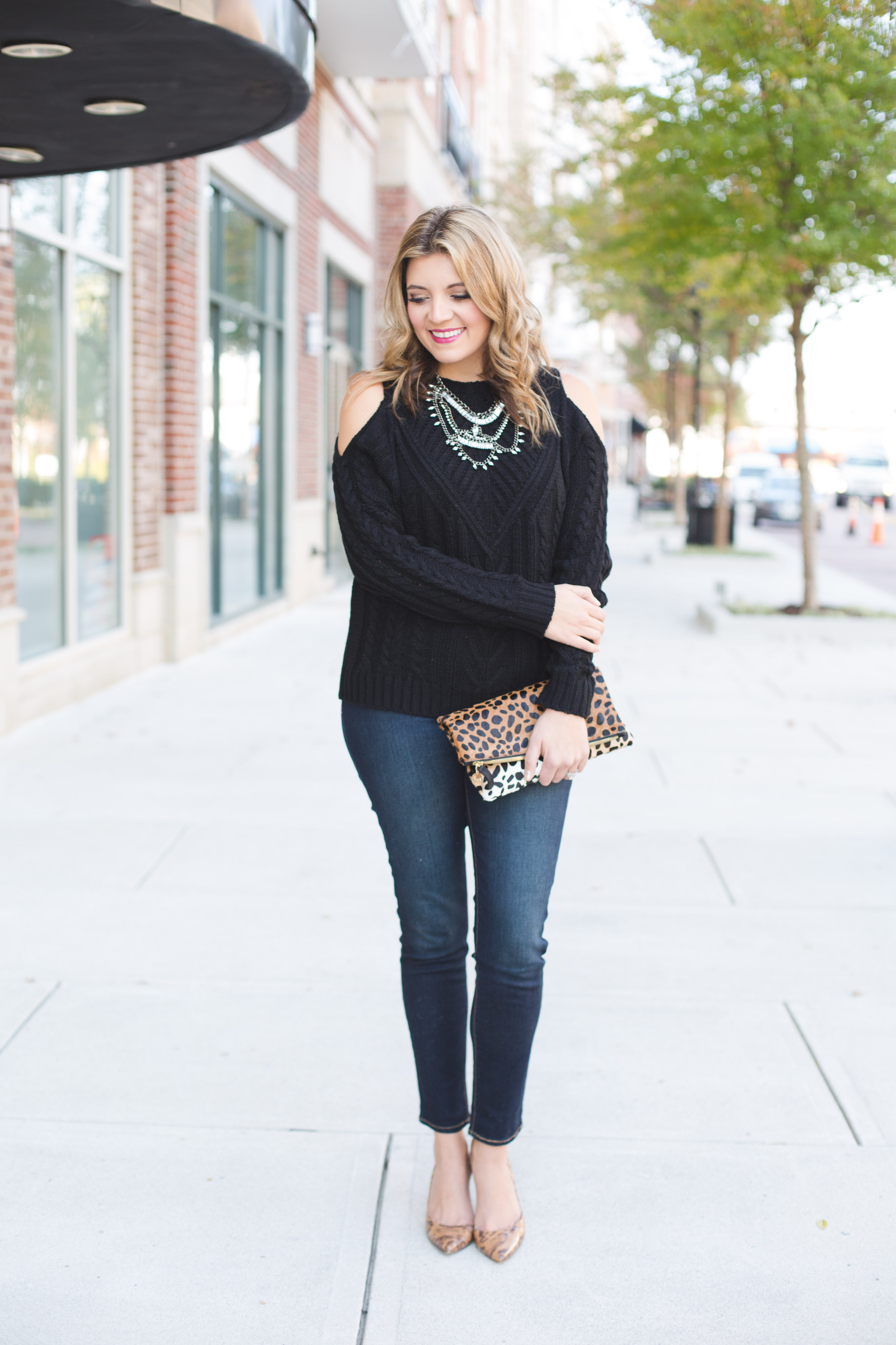 cold shoulder sweater with statement necklace and skinny jeans | www.bylaurenm.com