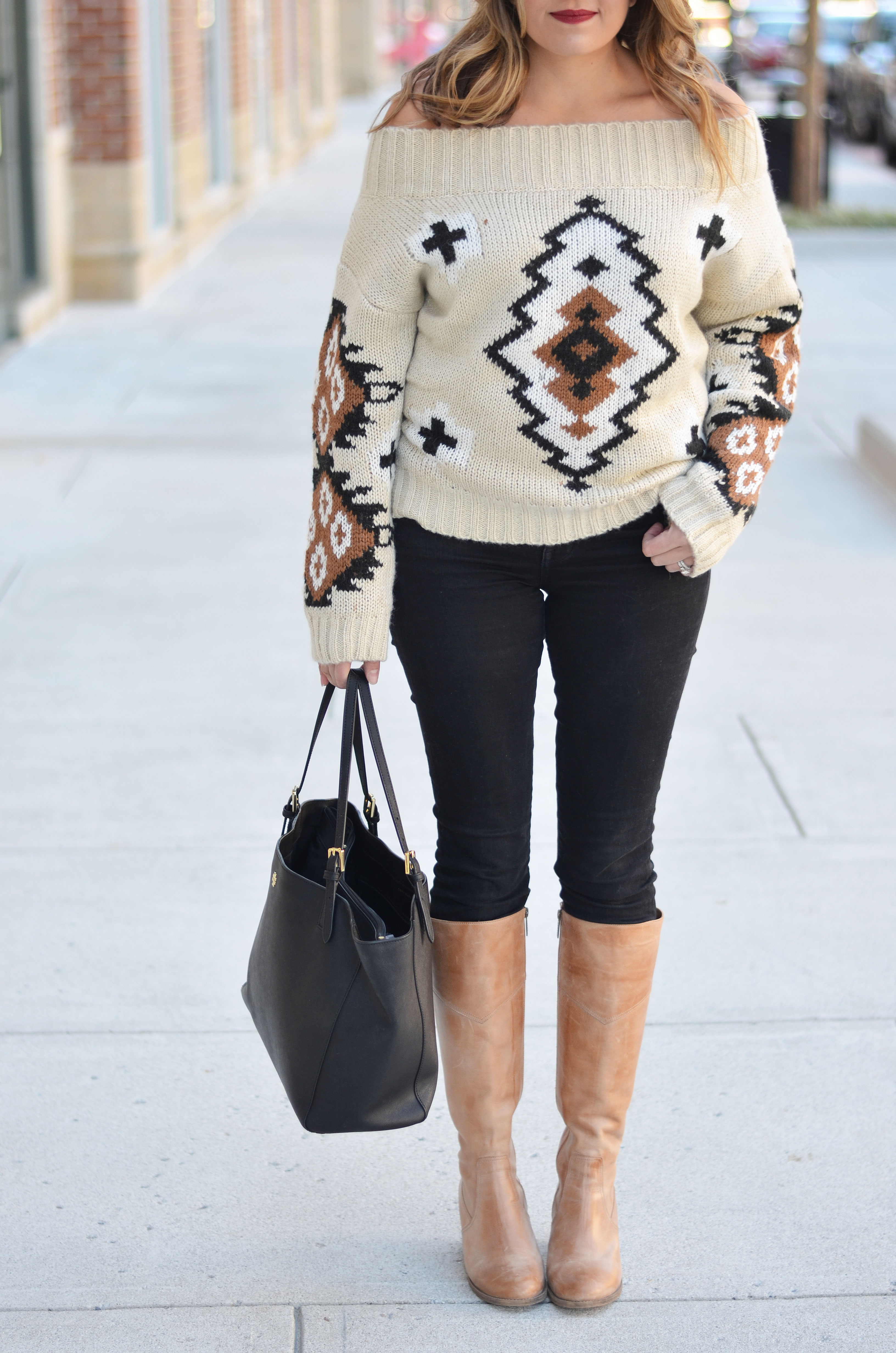 Aztec Off Shoulder Sweater Outfit | By Lauren M