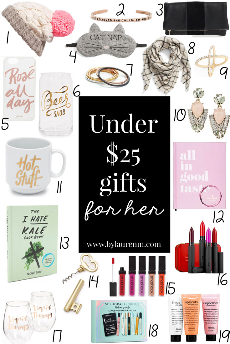 gifts under $25 for her - affordable gift ideas for women | gifts under $25 for girls | affordable gift ideas | www.bylaurenm.com