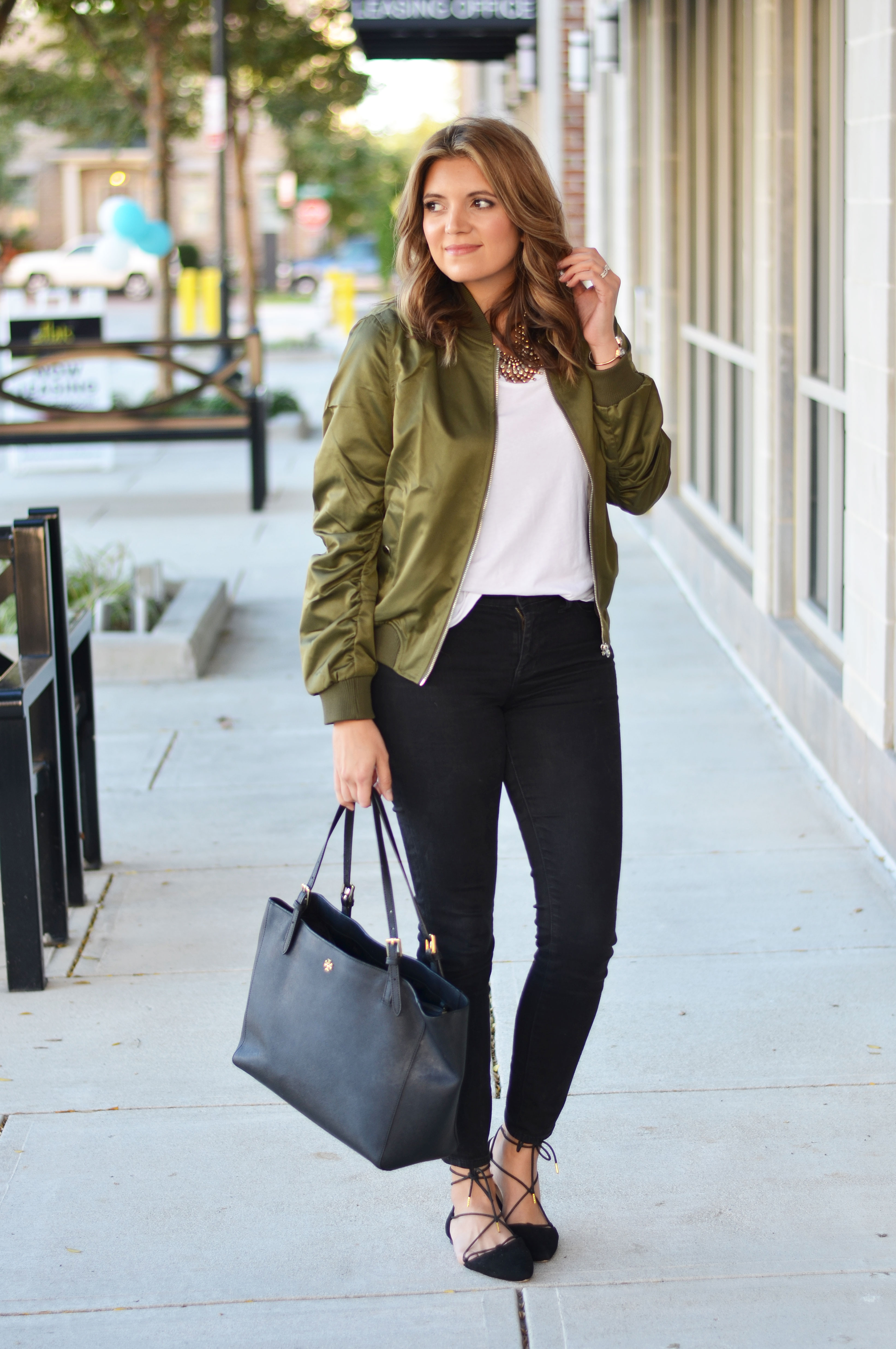 wear bomber jacket - green bomber jacket outfit | www.bylaurenm.com