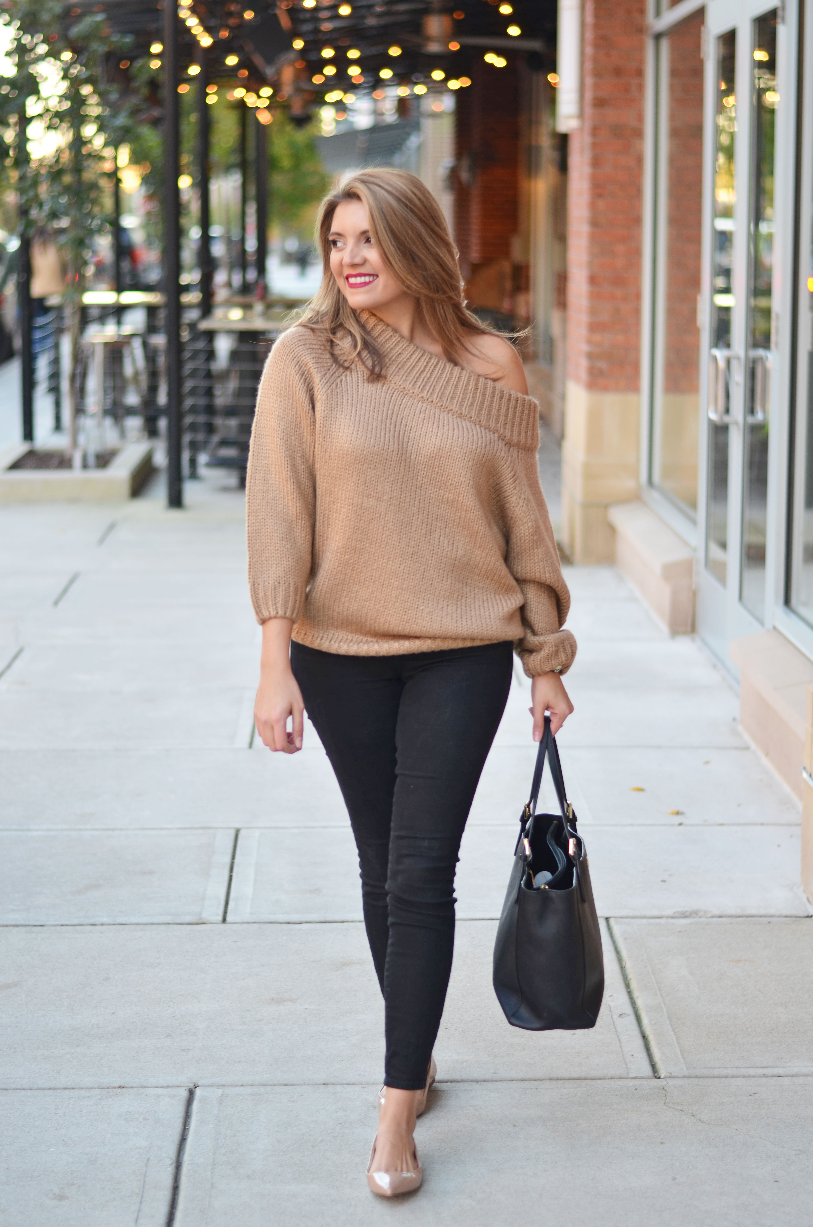 eb15aedb097 camel off shoulder sweater outfit - chunky camel sweater with black jeans  and nude flats