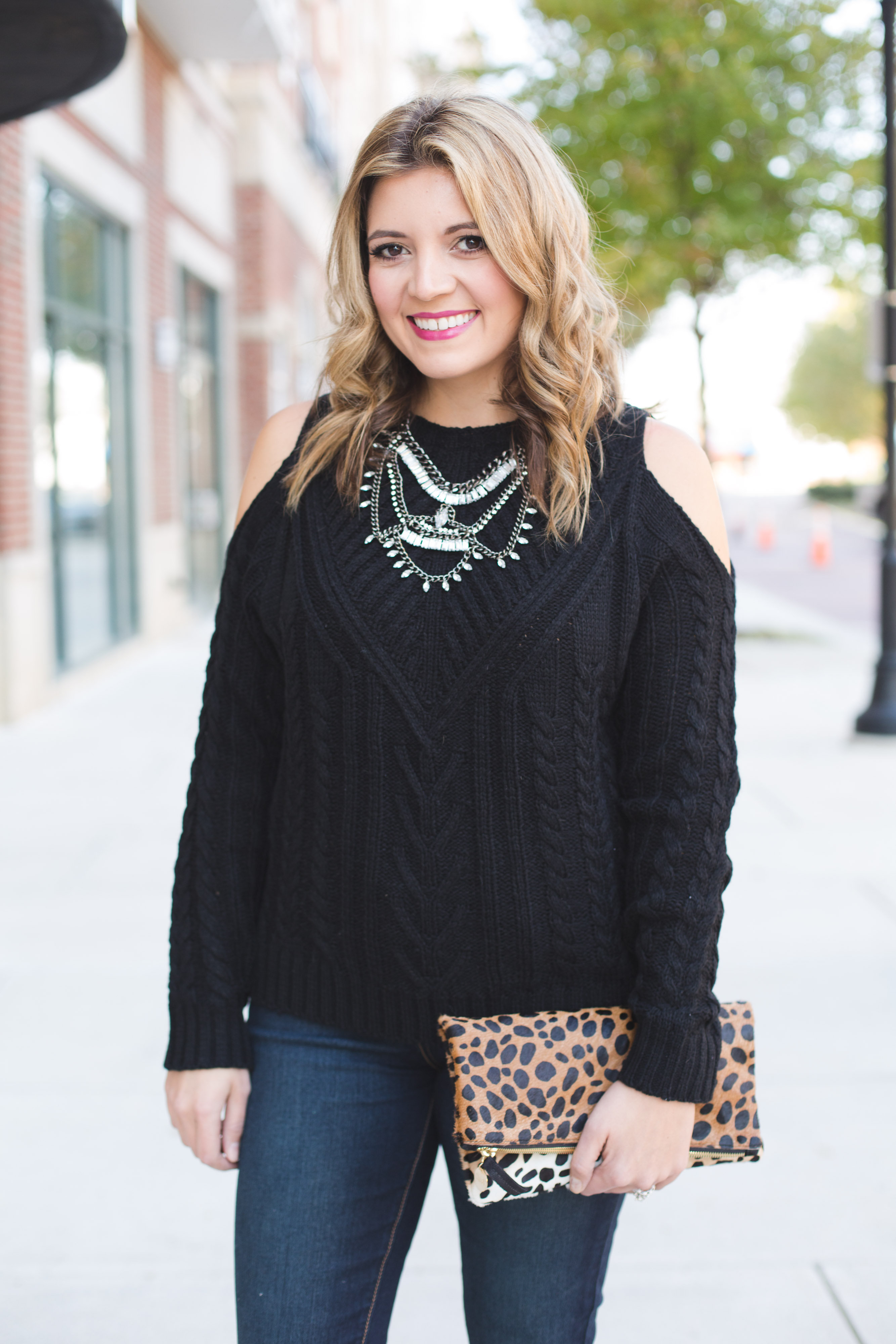 cold shoulder sweater with crystal statement necklace | www.bylaurenm.com