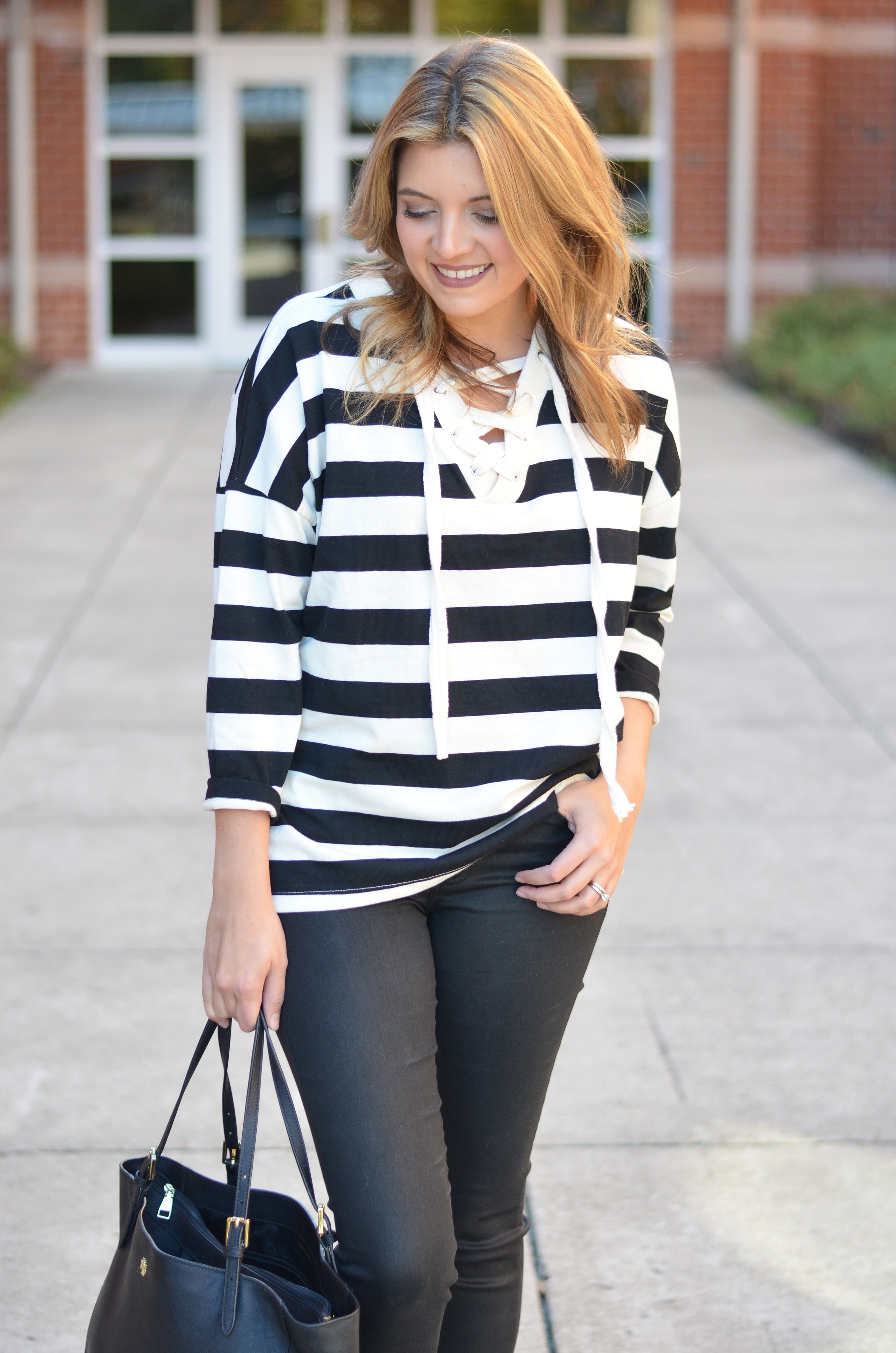 stripe lace-up top with coated jeans | www.bylaurenm.com