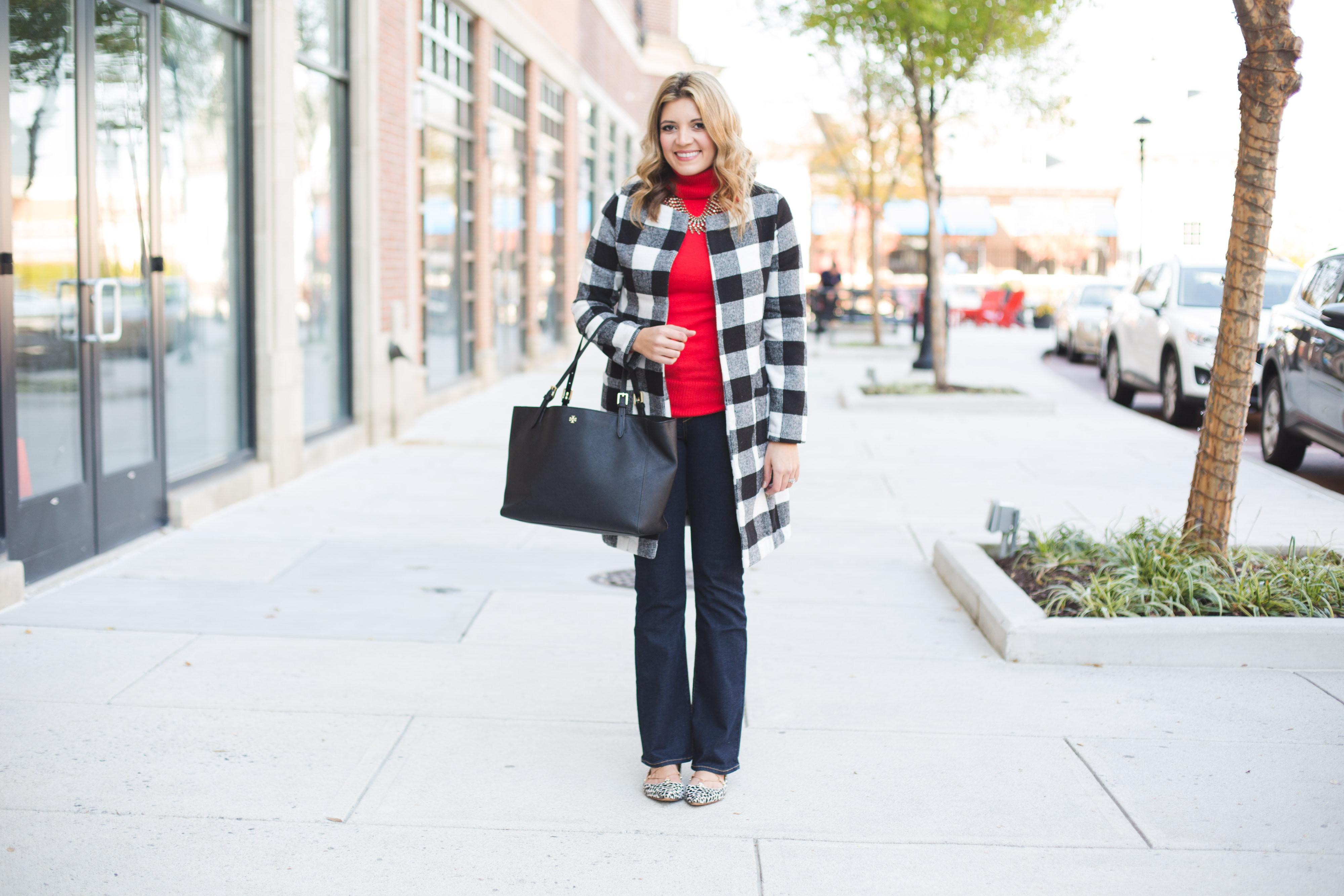 buffalo plaid coat with red turtleneck and bootcut jeans | www.bylaurenm.com
