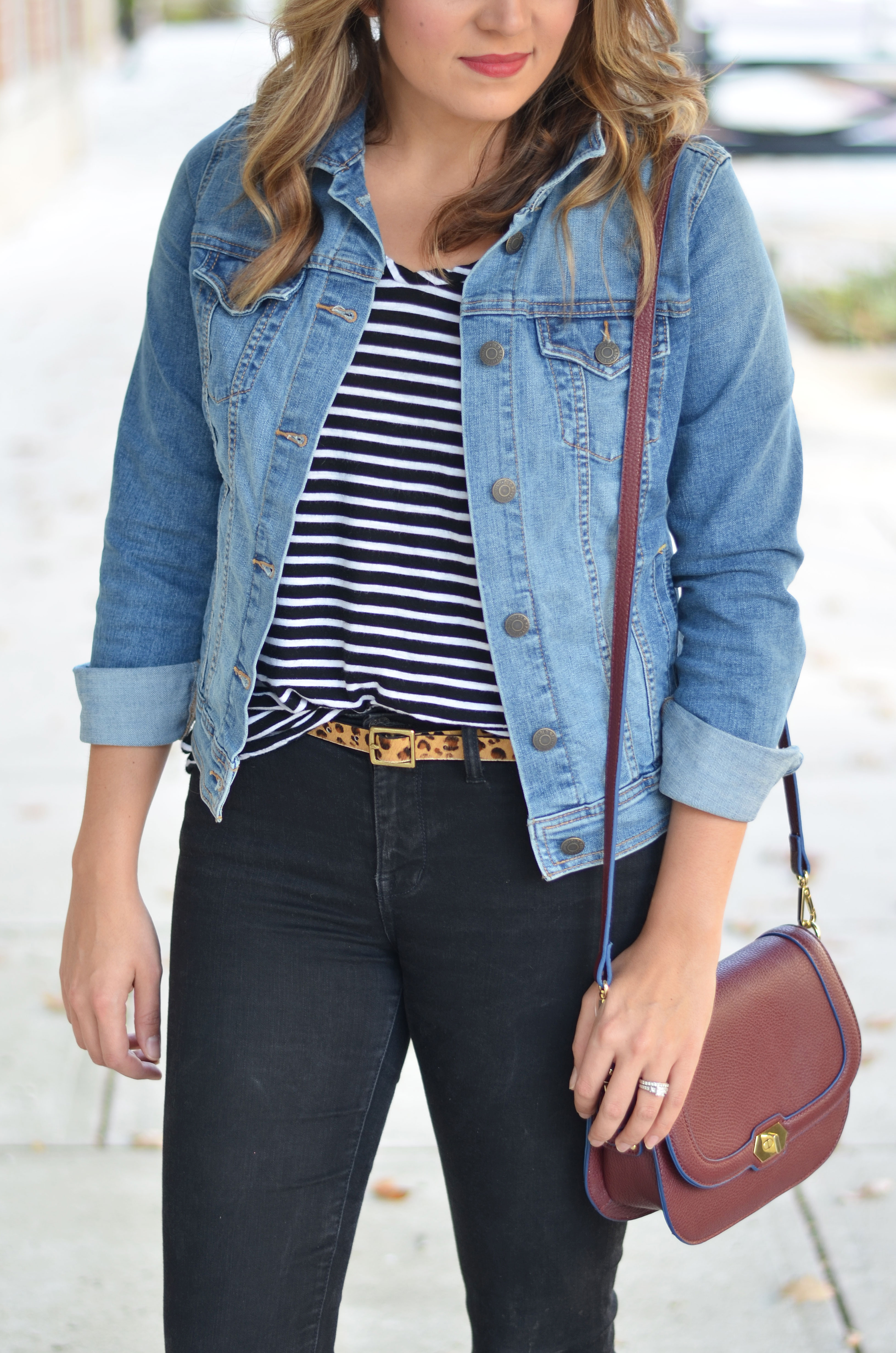 stripes and leopard - black jeans, striped tee and leopard print belt | www.bylaurenm.com
