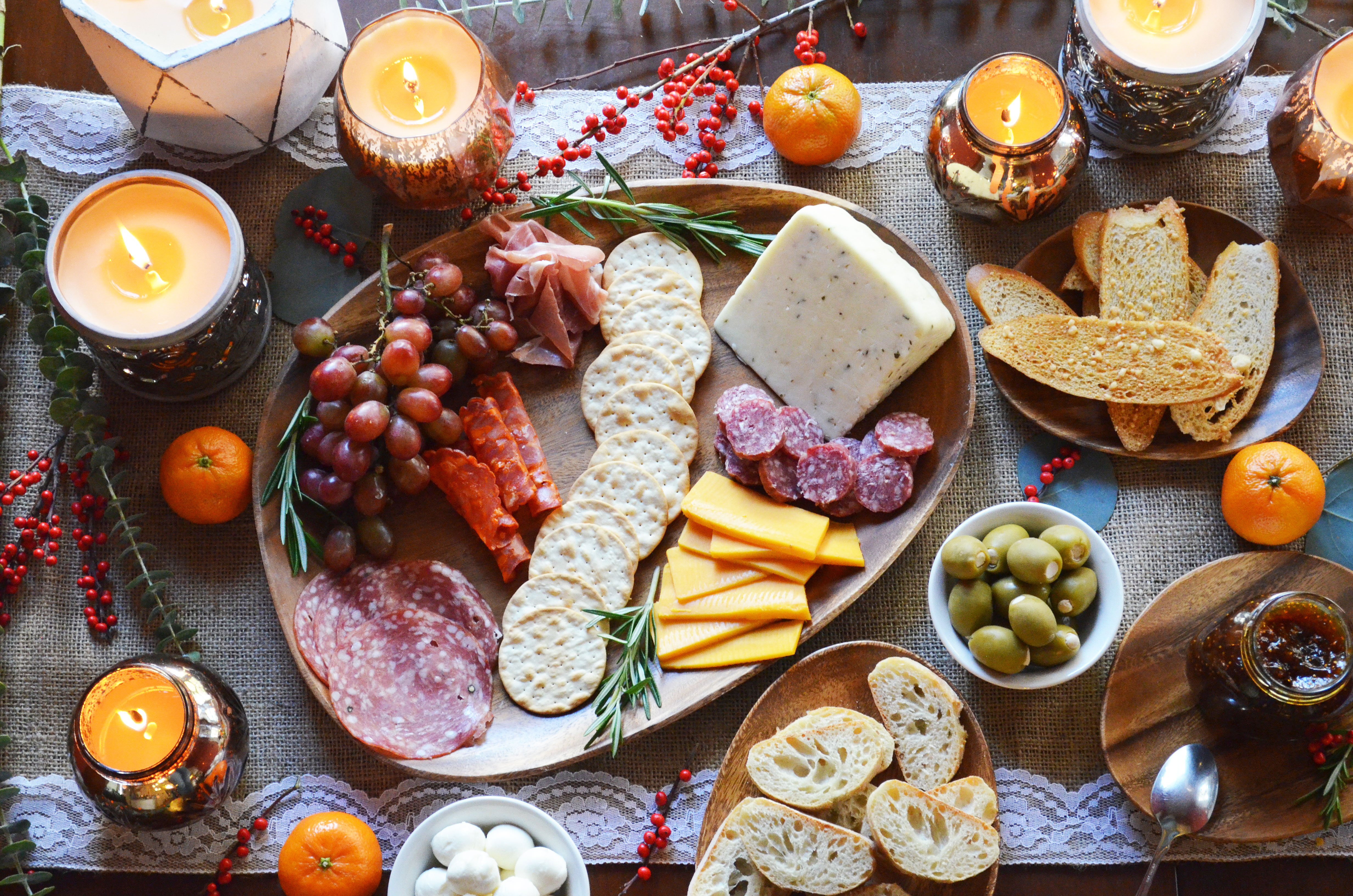 appetizer spread with meat and cheese - diy charcuterie | www.bylaurenm.com