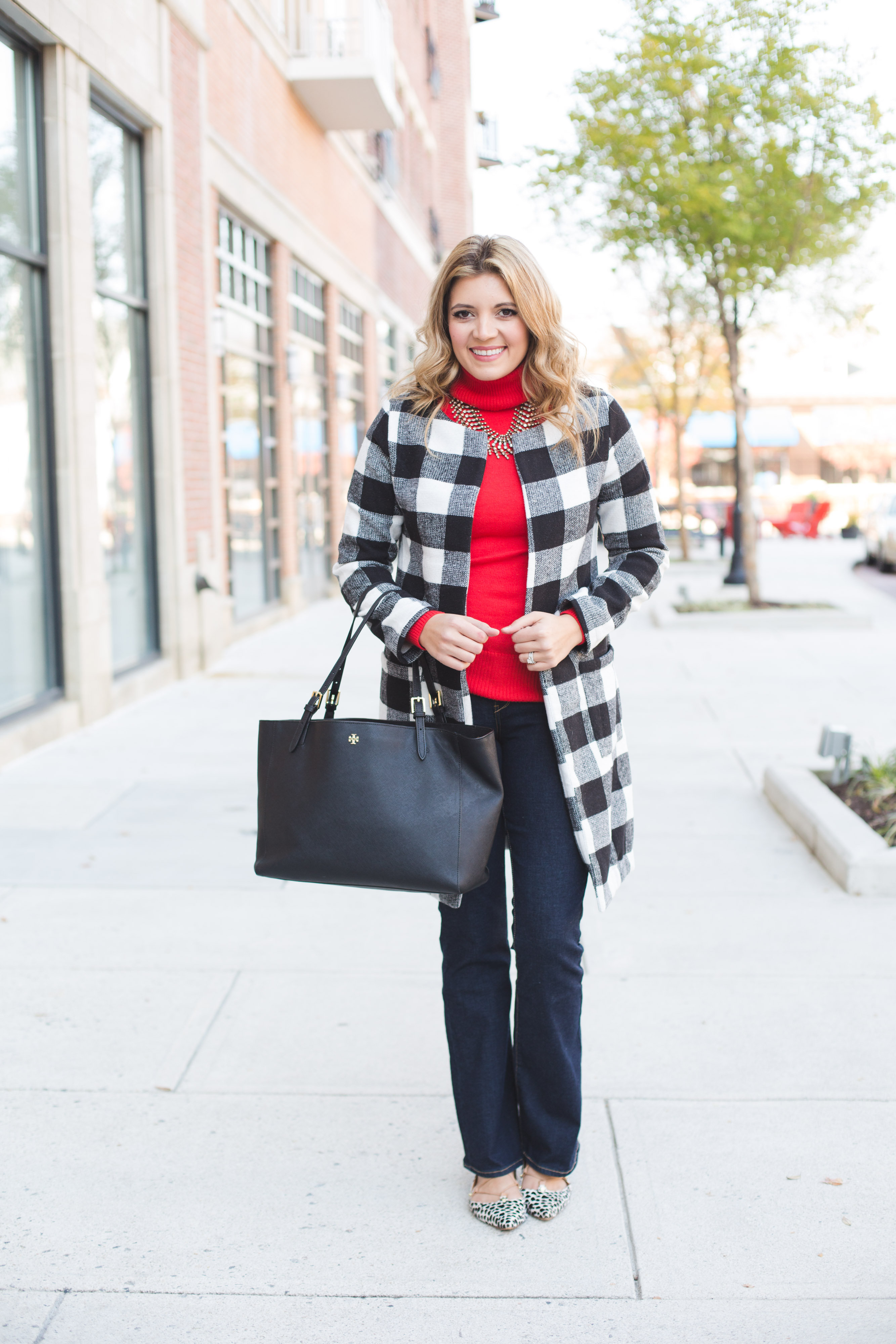 buffalo plaid jacket with bootcut jeans outfit - how wear red turtleneck sweater | www.bylaurenm.com