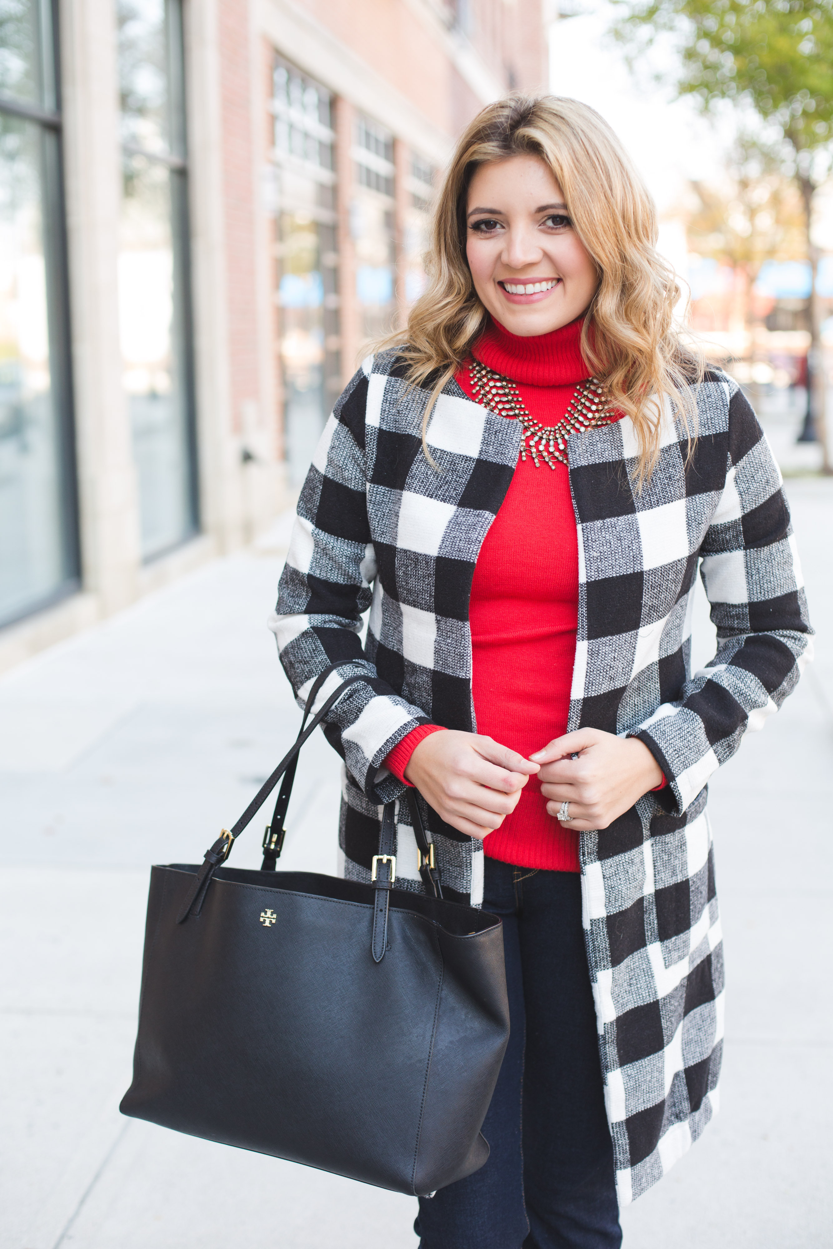 buffalo plaid coat outfit - red turtleneck sweater, white and black buffalo plaid jacket | www.bylaurenm.com