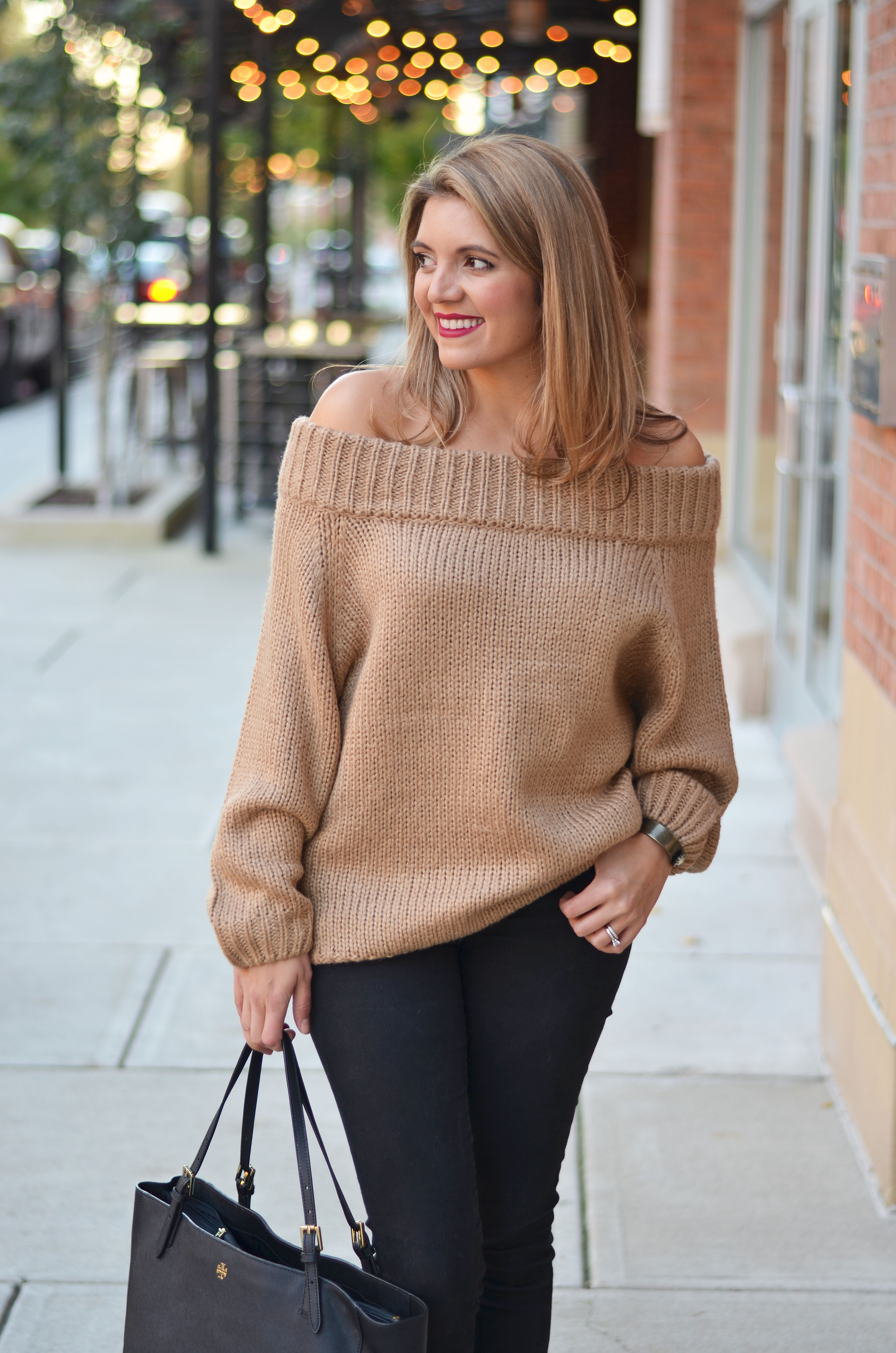 chunky off shoulder sweater - chunky camel sweater with black jeans | www.bylaurenm.com