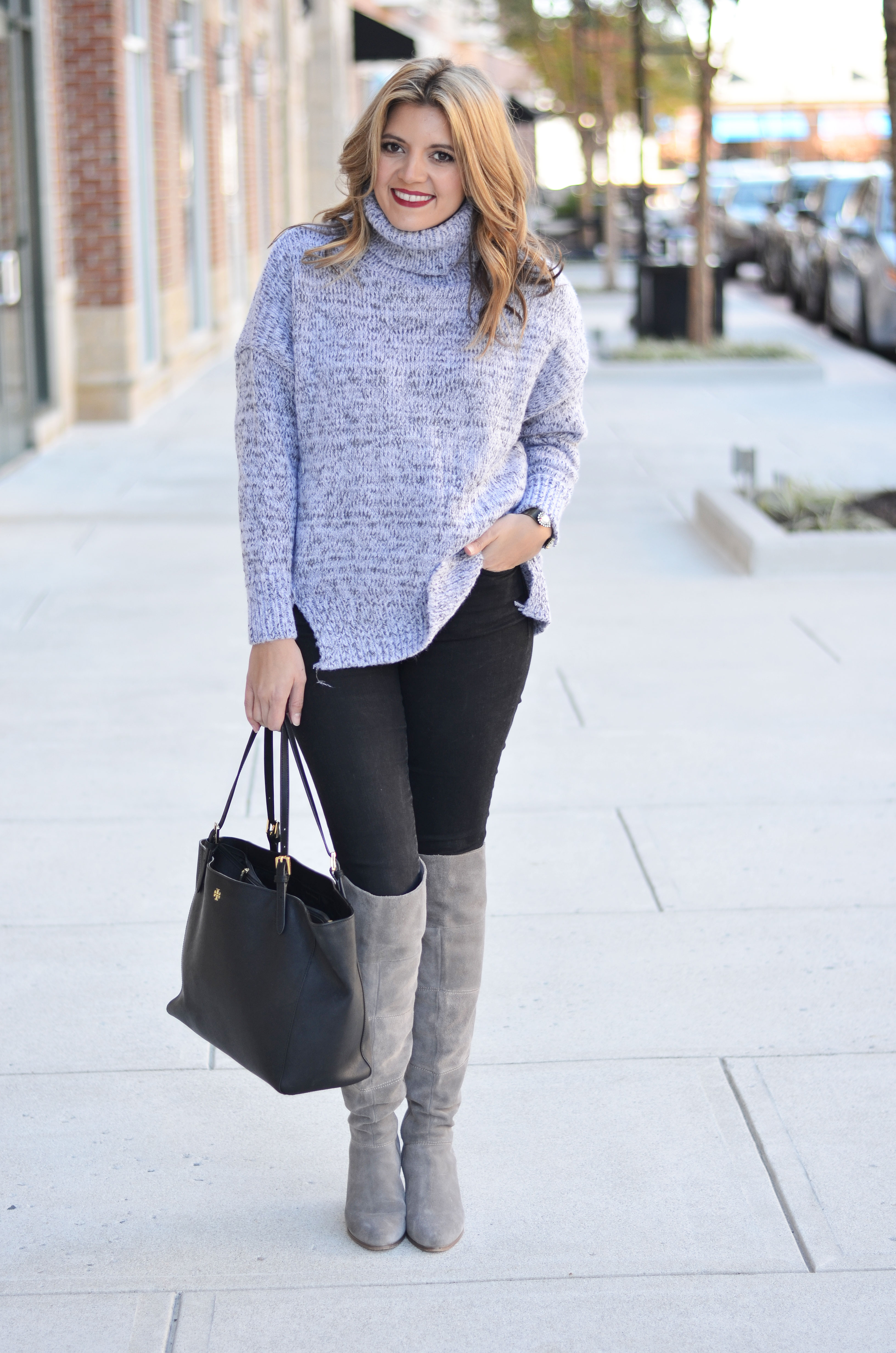 oversized sweater outfit - gray oversized turtleneck with black skinny jeans and gray over the knee boots | www.bylaurenm.com