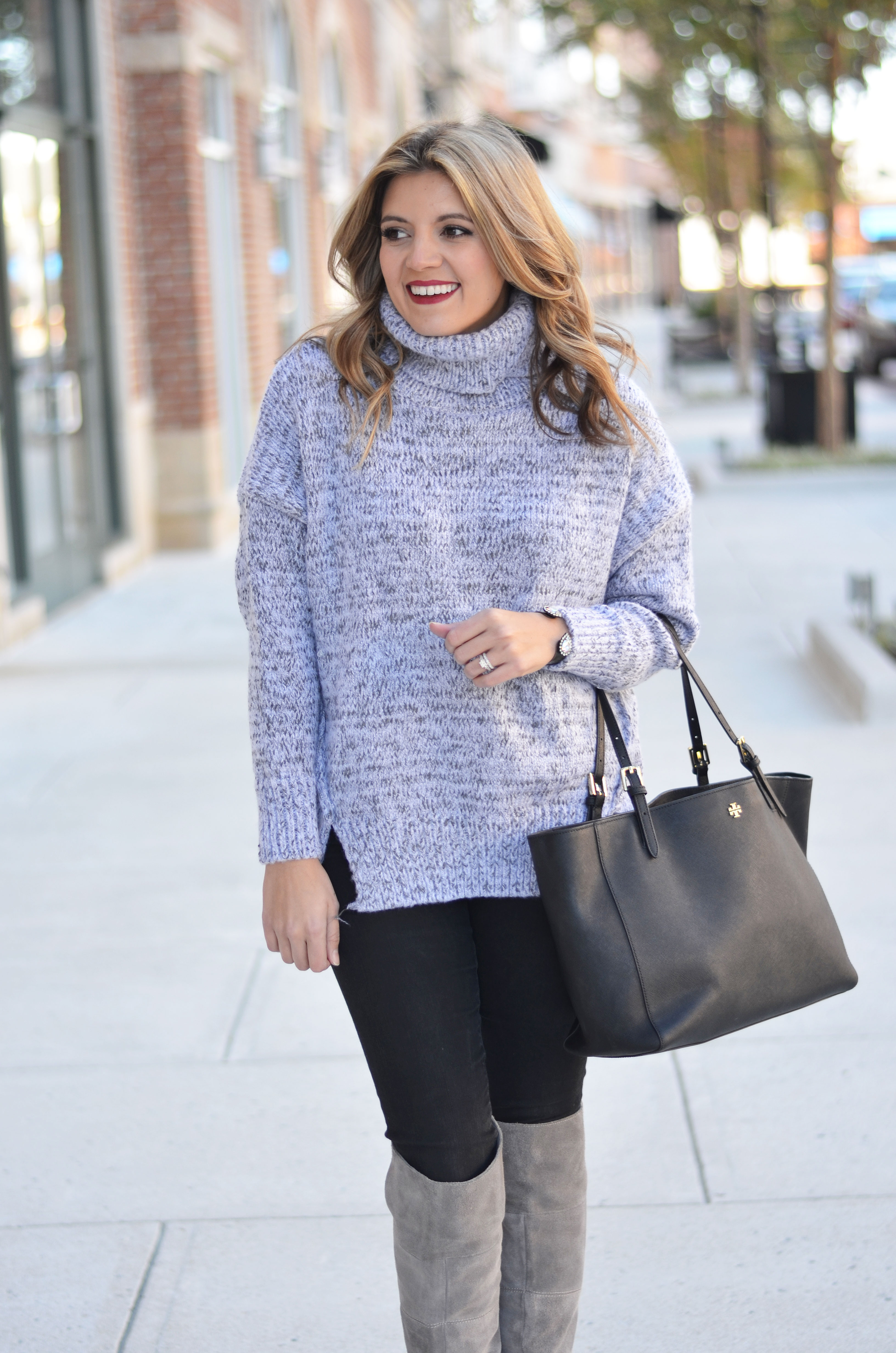 oversized turtleneck outfit with over the knee boots | www.bylaurenm.com