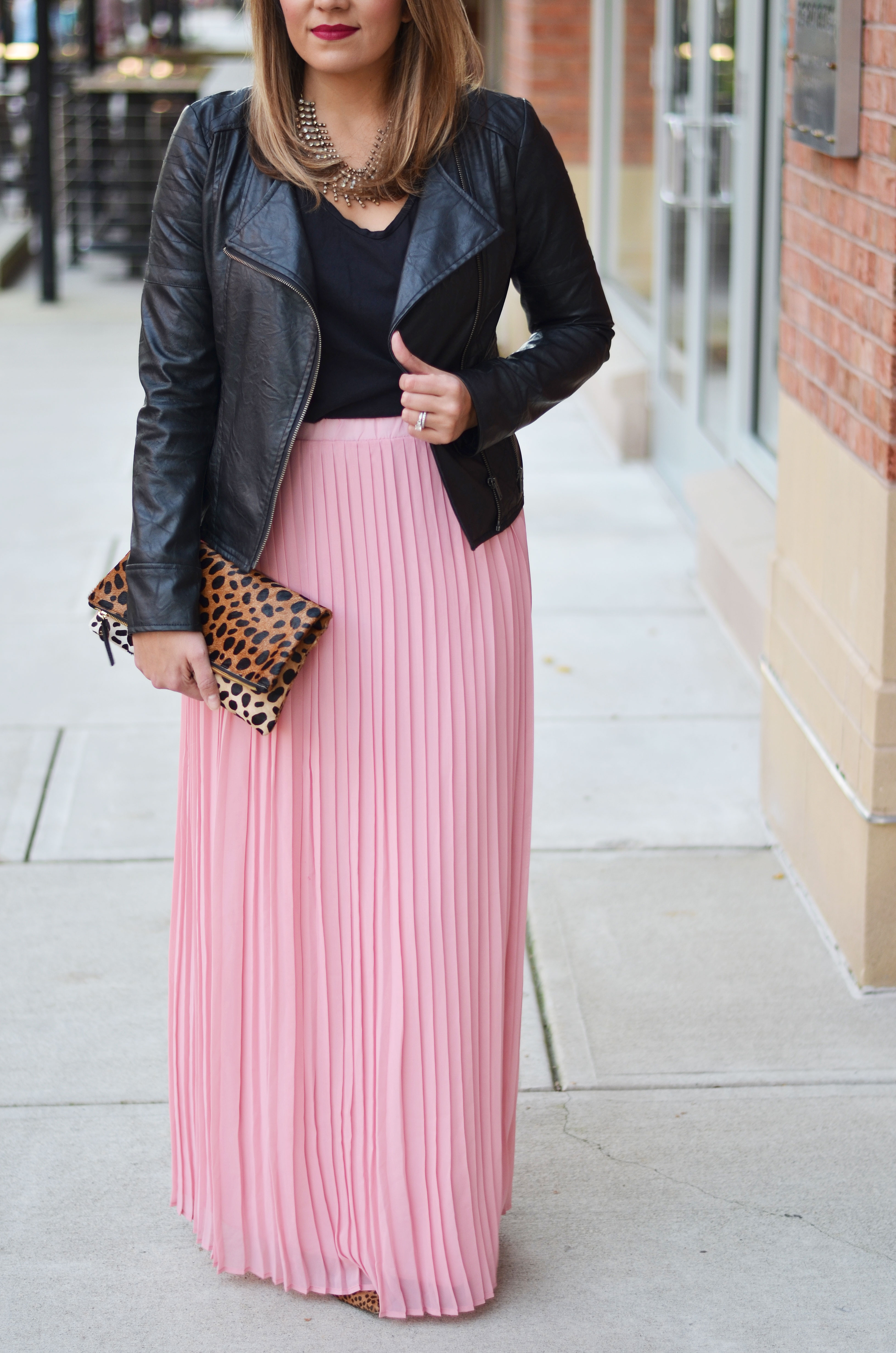 how wear a maxi skirt for winter - pleated maxi skirt with leather moto jacket | www.bylaurenm.com