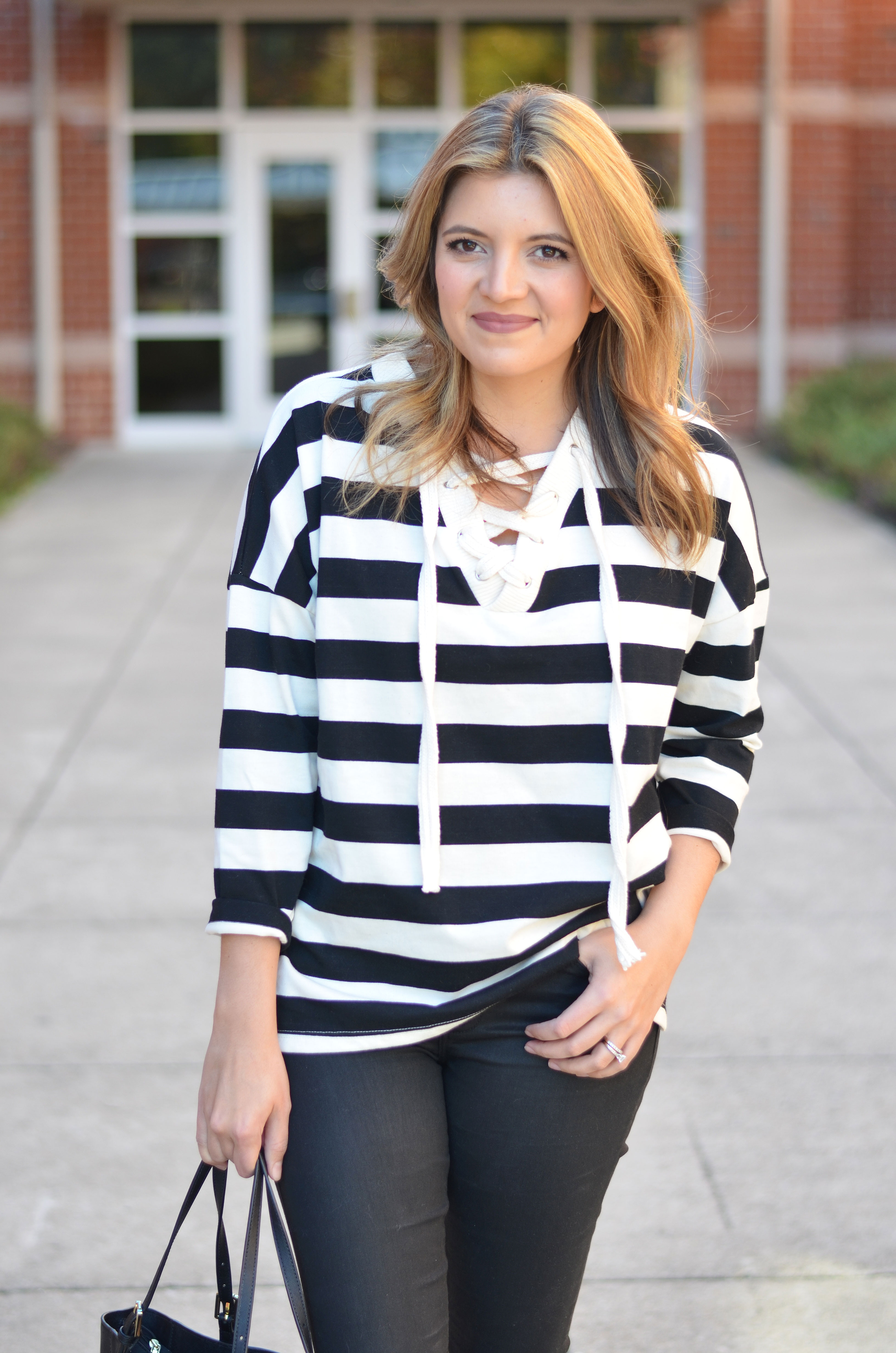 how wear oversized stripe top - stripe lace up top | www.bylaurenm.com