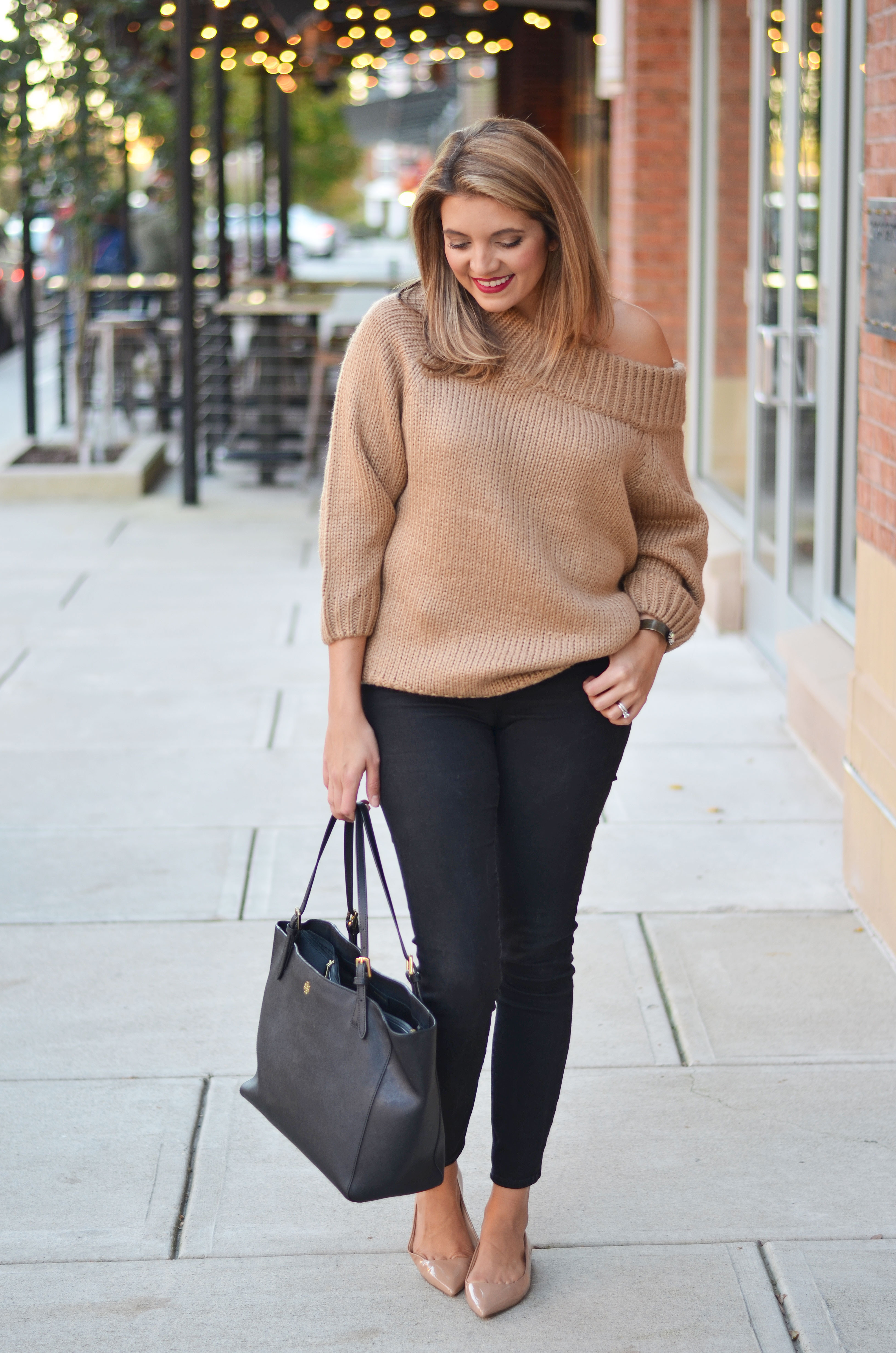 chunky camel sweater outfit - tan off shoulder sweater with black skinny jeans and nude patent flats | www.bylaurenm.com