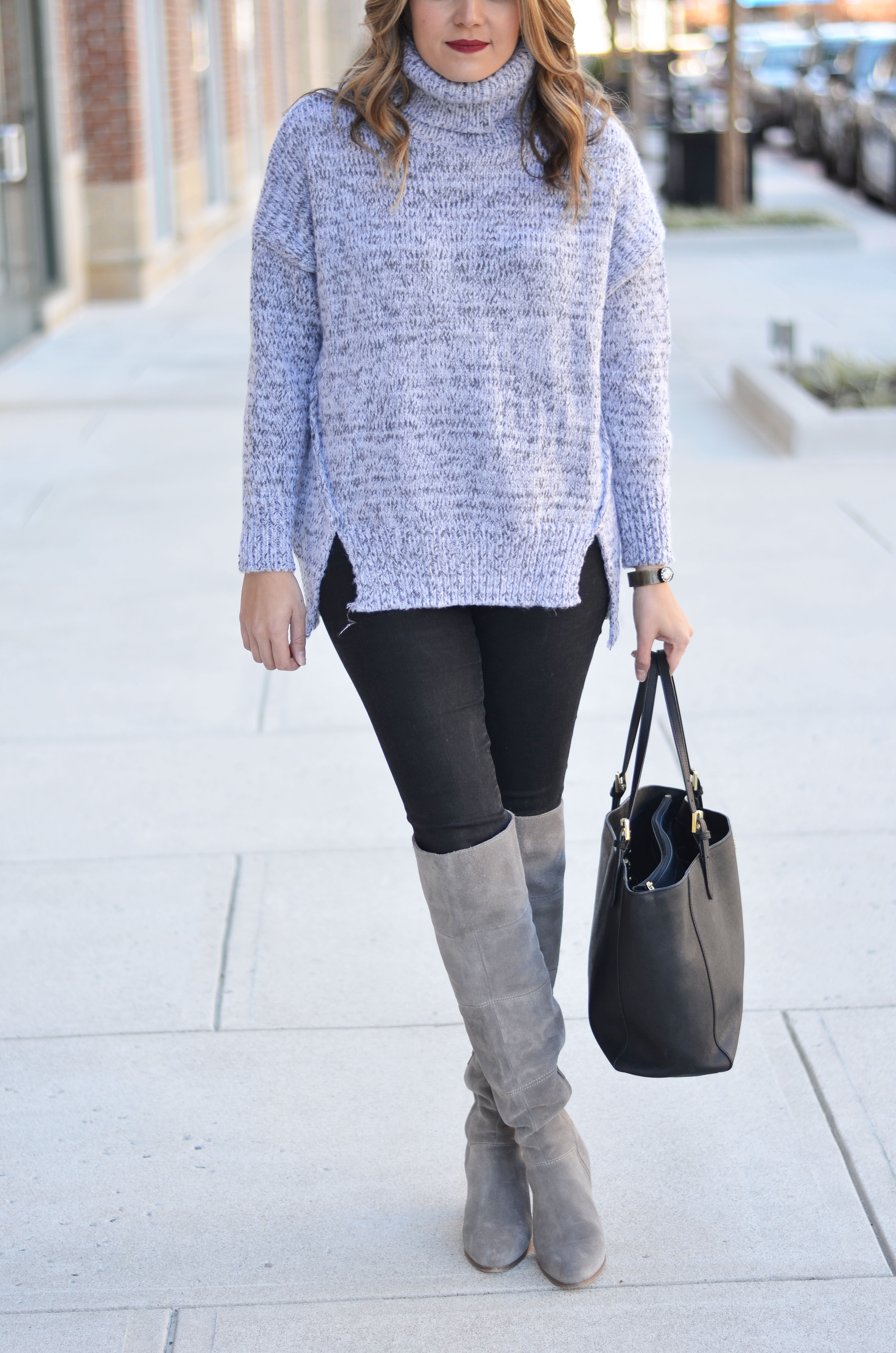 Oversized Turtleneck | Gray Oversized Turtleneck Outfit | By Lauren M