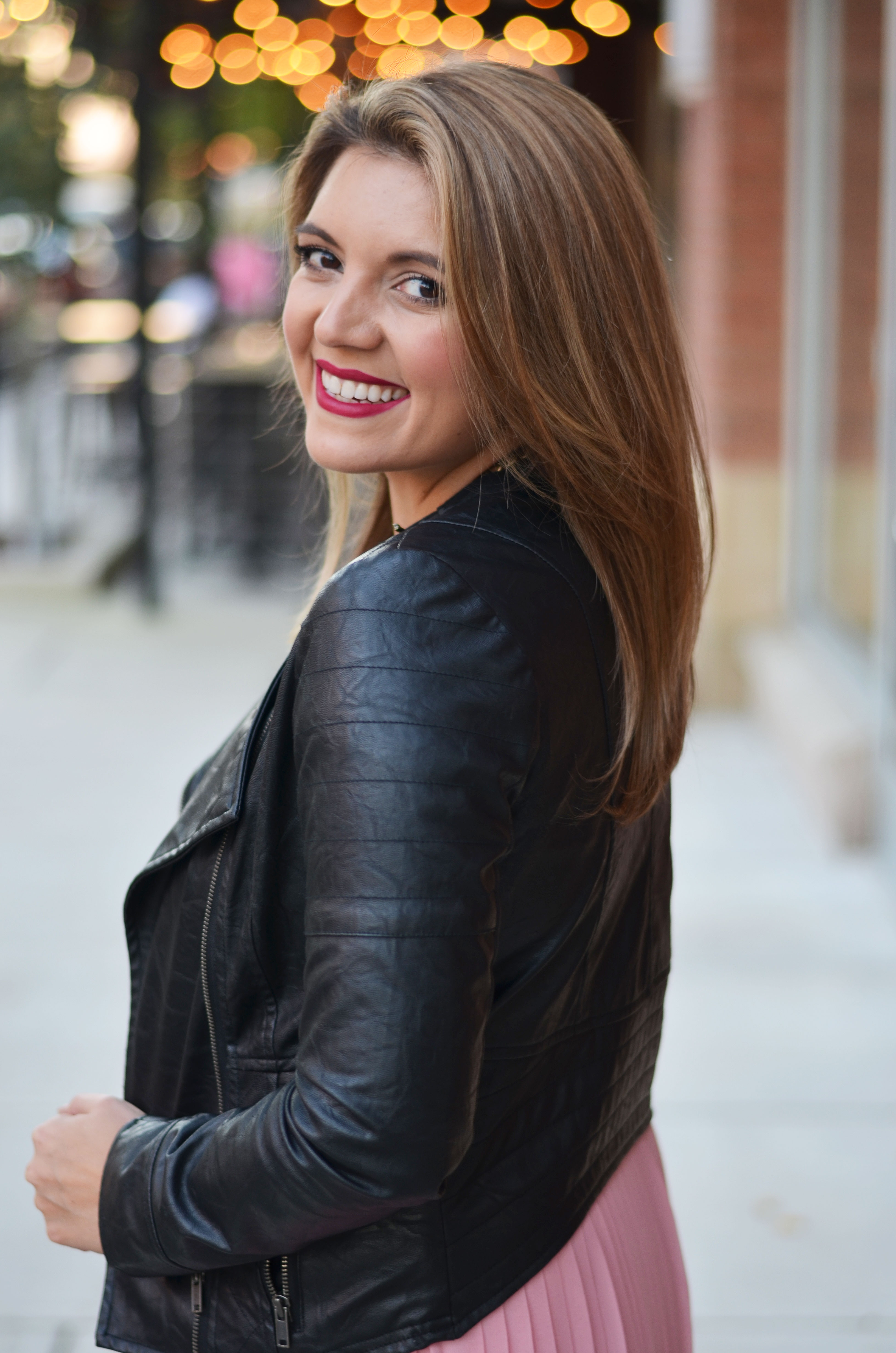 how wear a maxi skirt with a moto jacket | www.bylaurenm.com