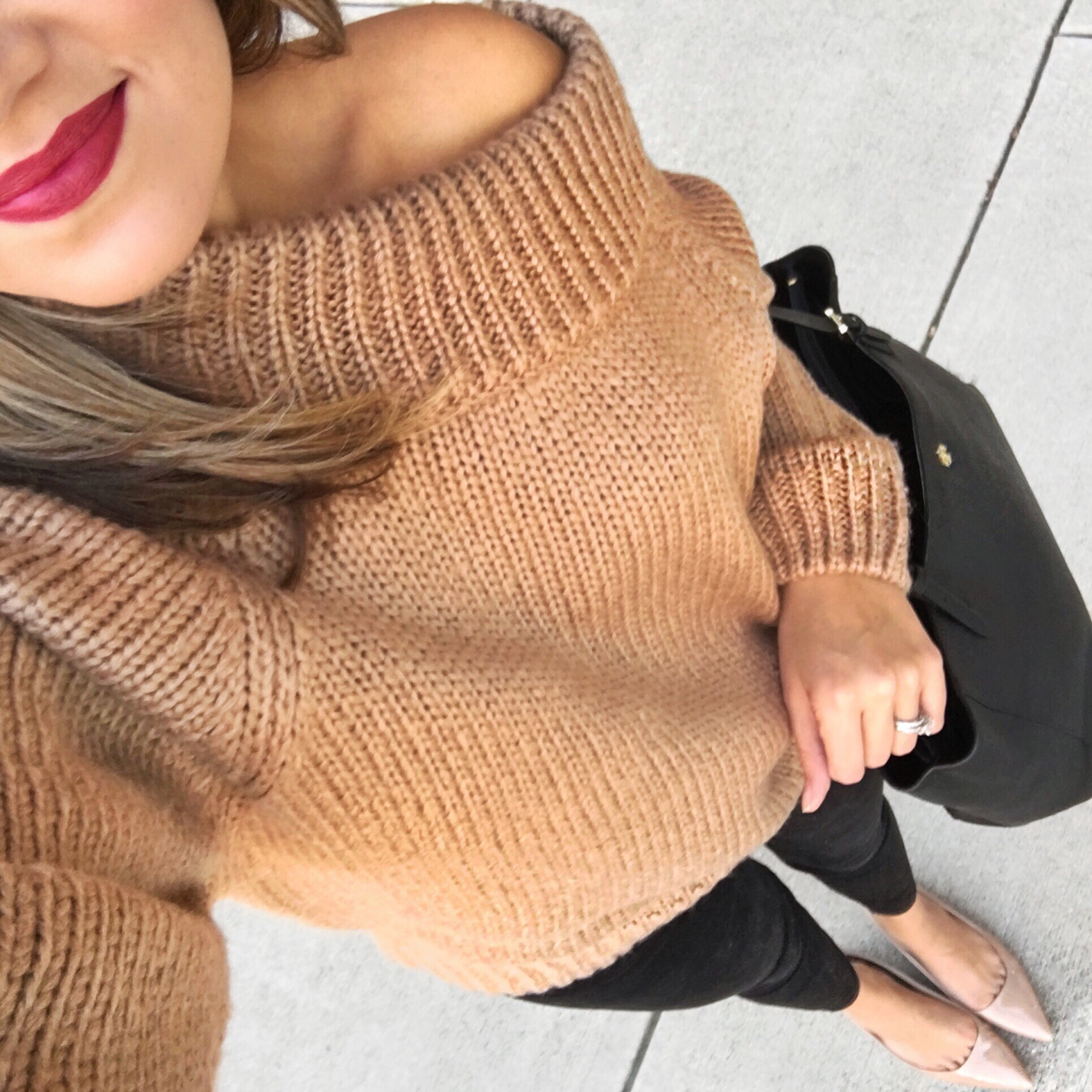 Camel off shoulder sweater | bylaurenm.com | instagram.com/laurenmdix
