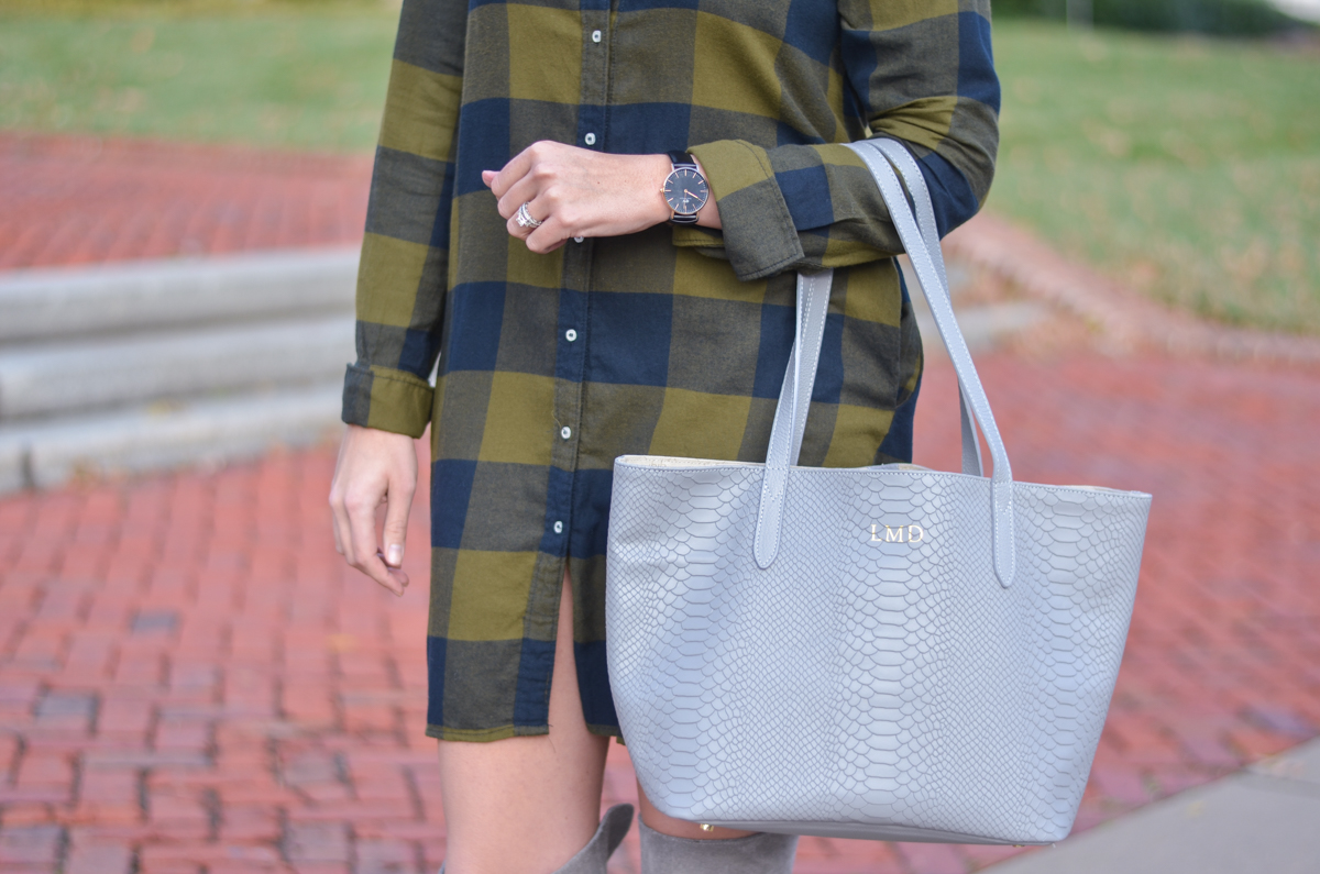 GiGi New York Teddie Tote with plaid shirtdress | www.bylaurenm.com
