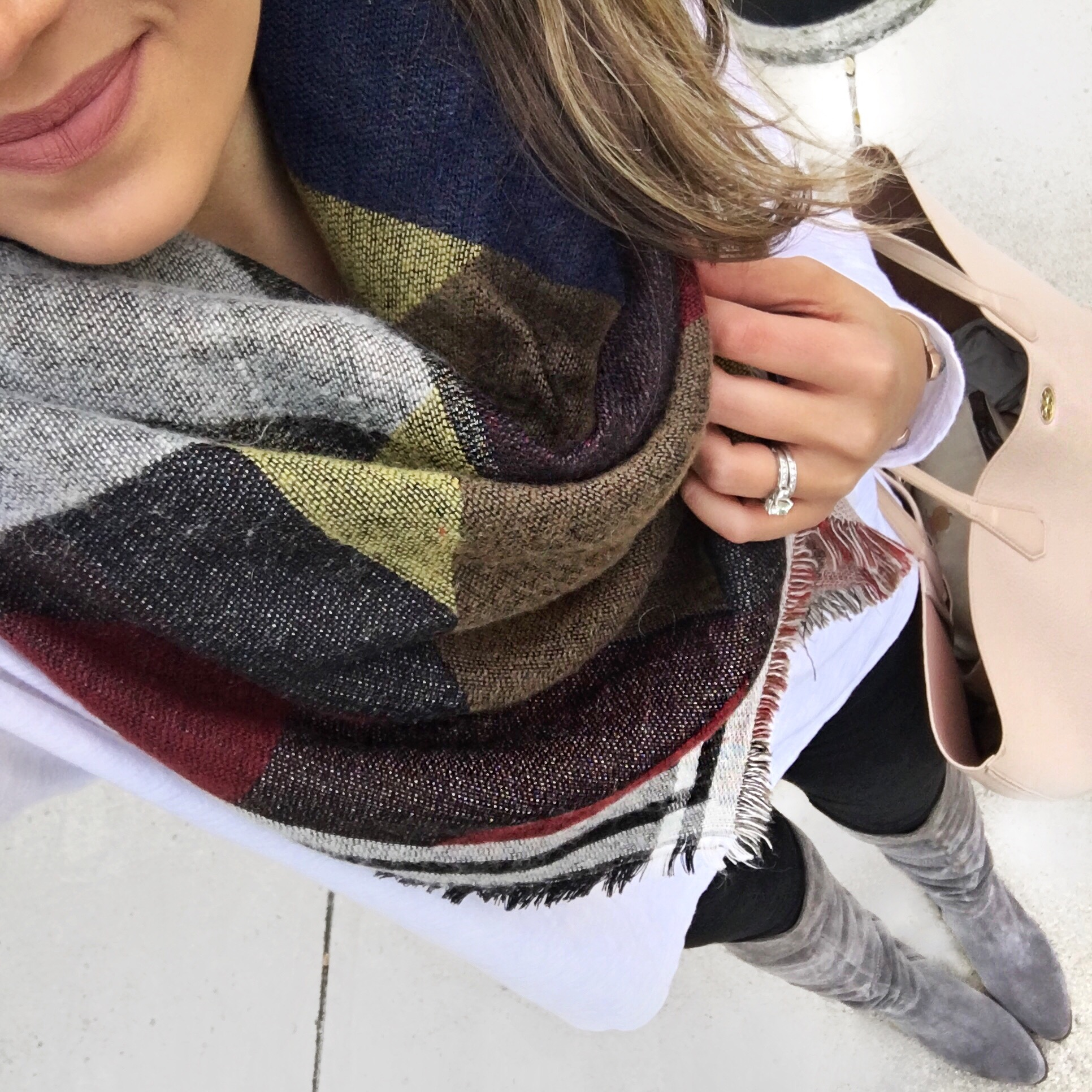 plaid blanket scarf with white tee | bylaurenm.com
