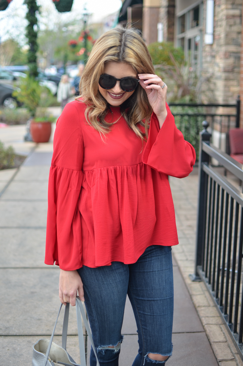 red bell sleeve top outfit - bell sleeve top winter outfit | www.bylaurenm.com