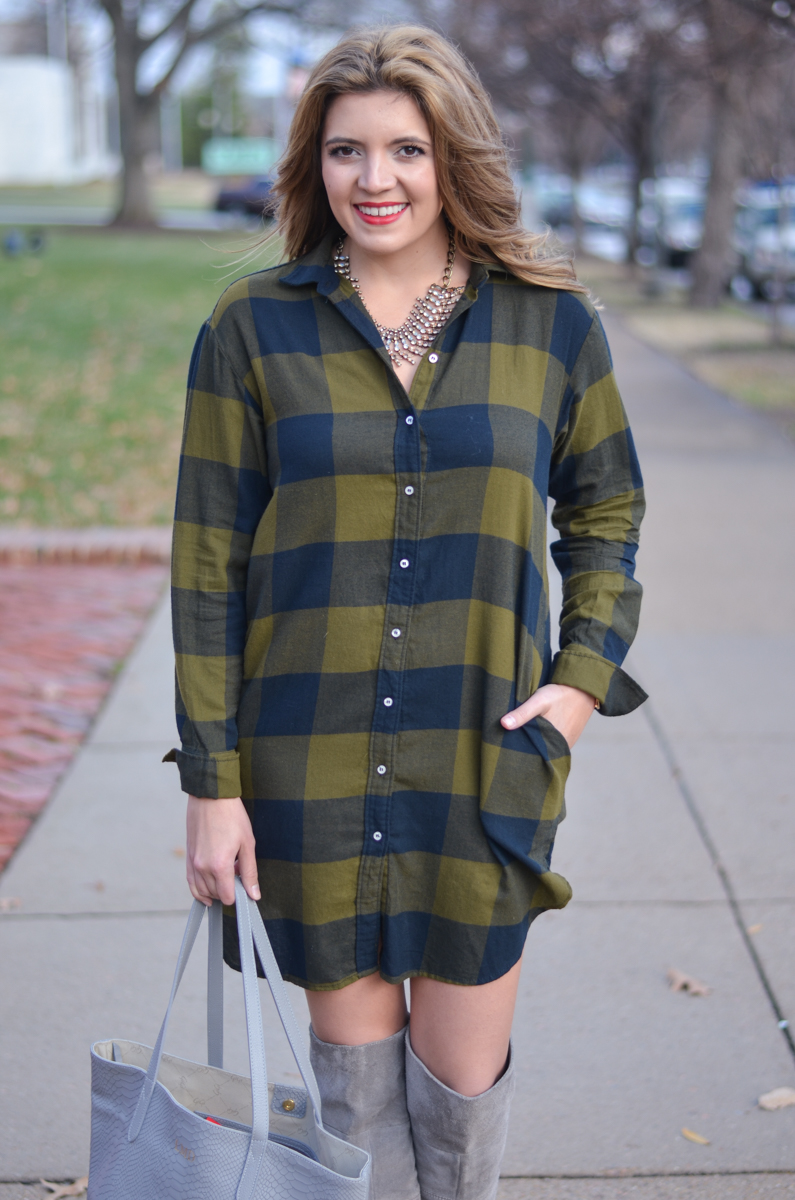 buffalo plaid shirtdress outfit - plaid button down dress | www.bylaurenm.com